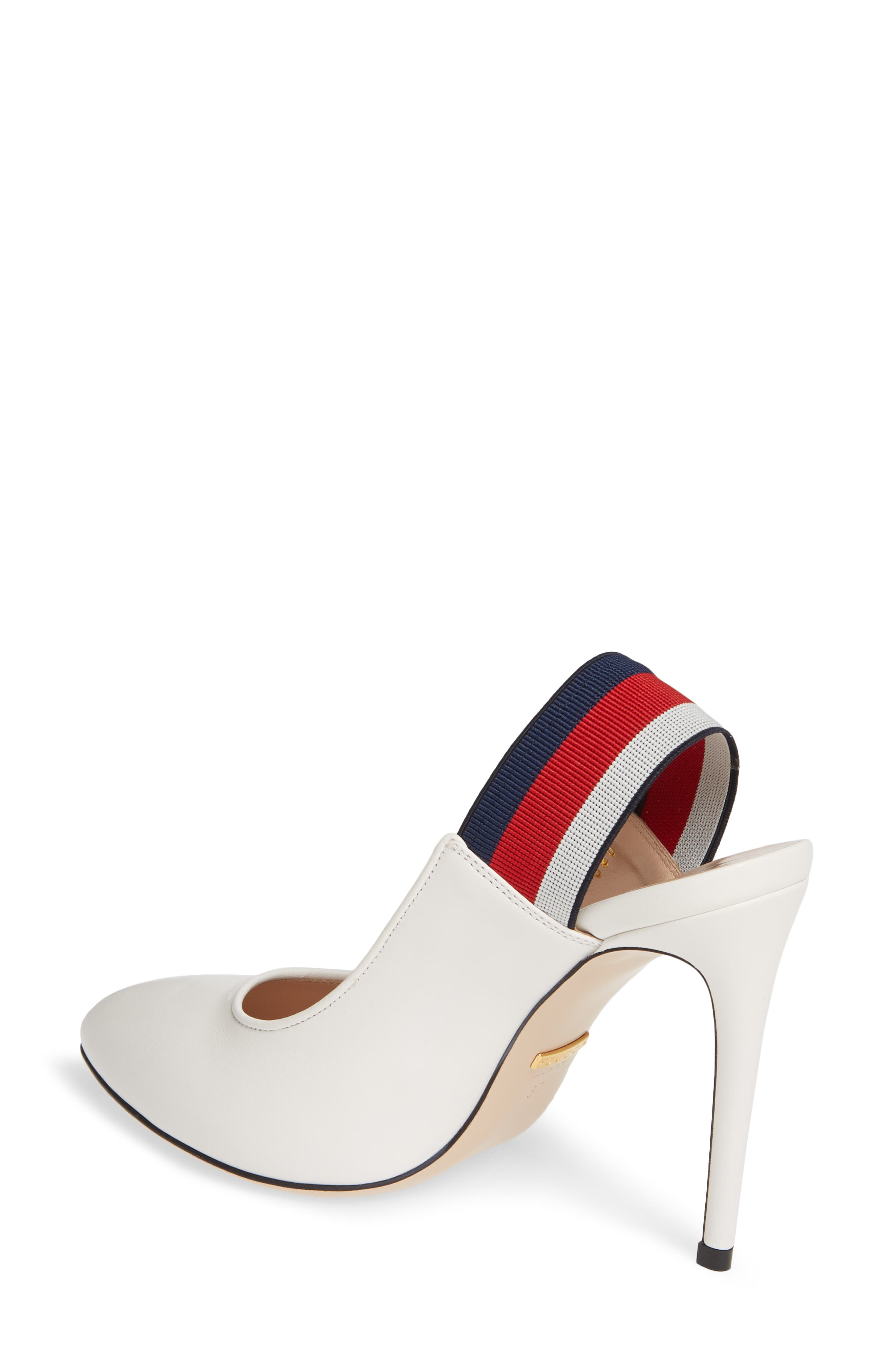 GUCCI,                             Sylvie Bee Slingback Pump,                             Alternate thumbnail 2, color,                             WHITE/ RED