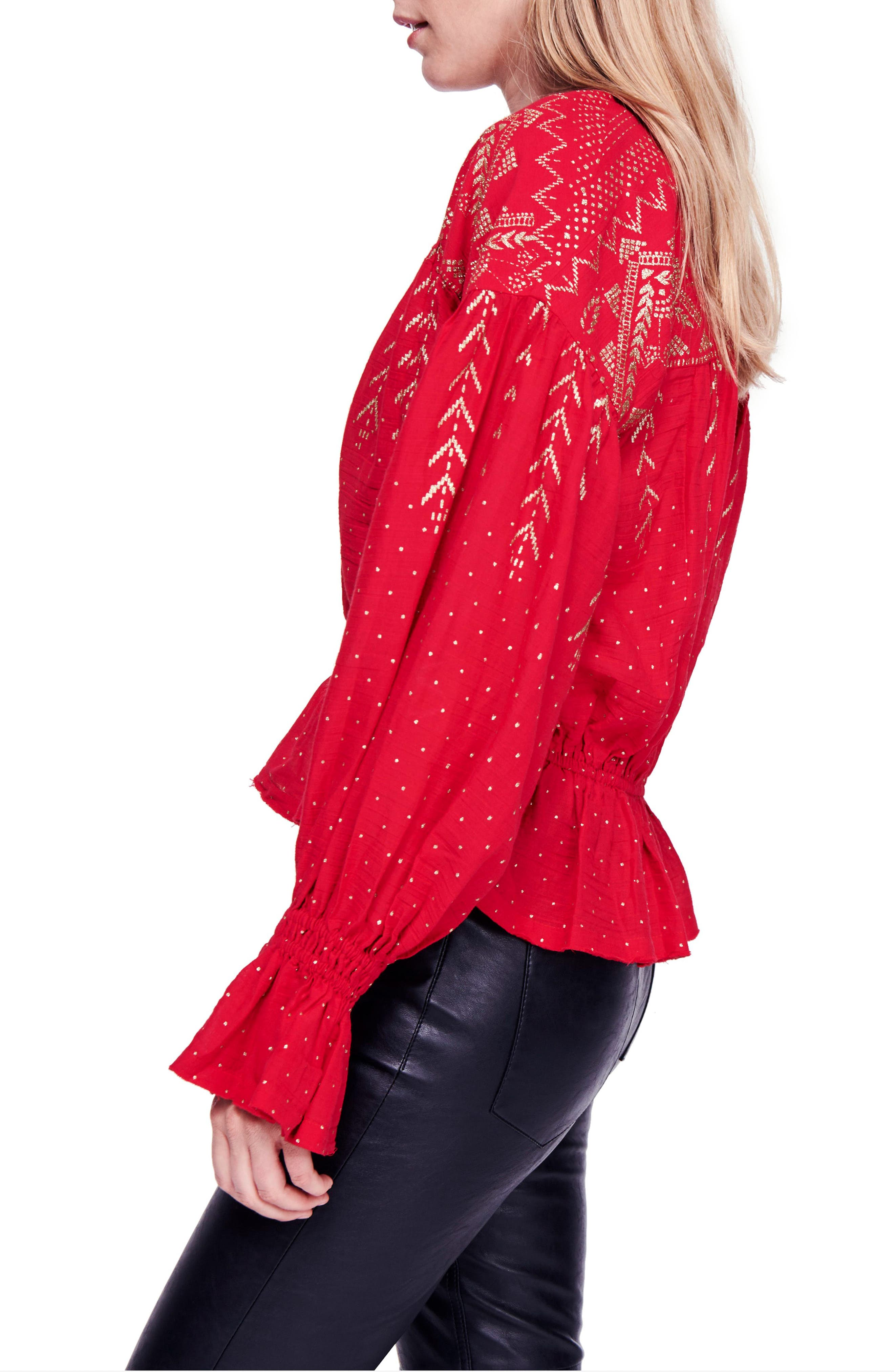 Counting Stars Blouse,                             Alternate thumbnail 3, color,                             RED