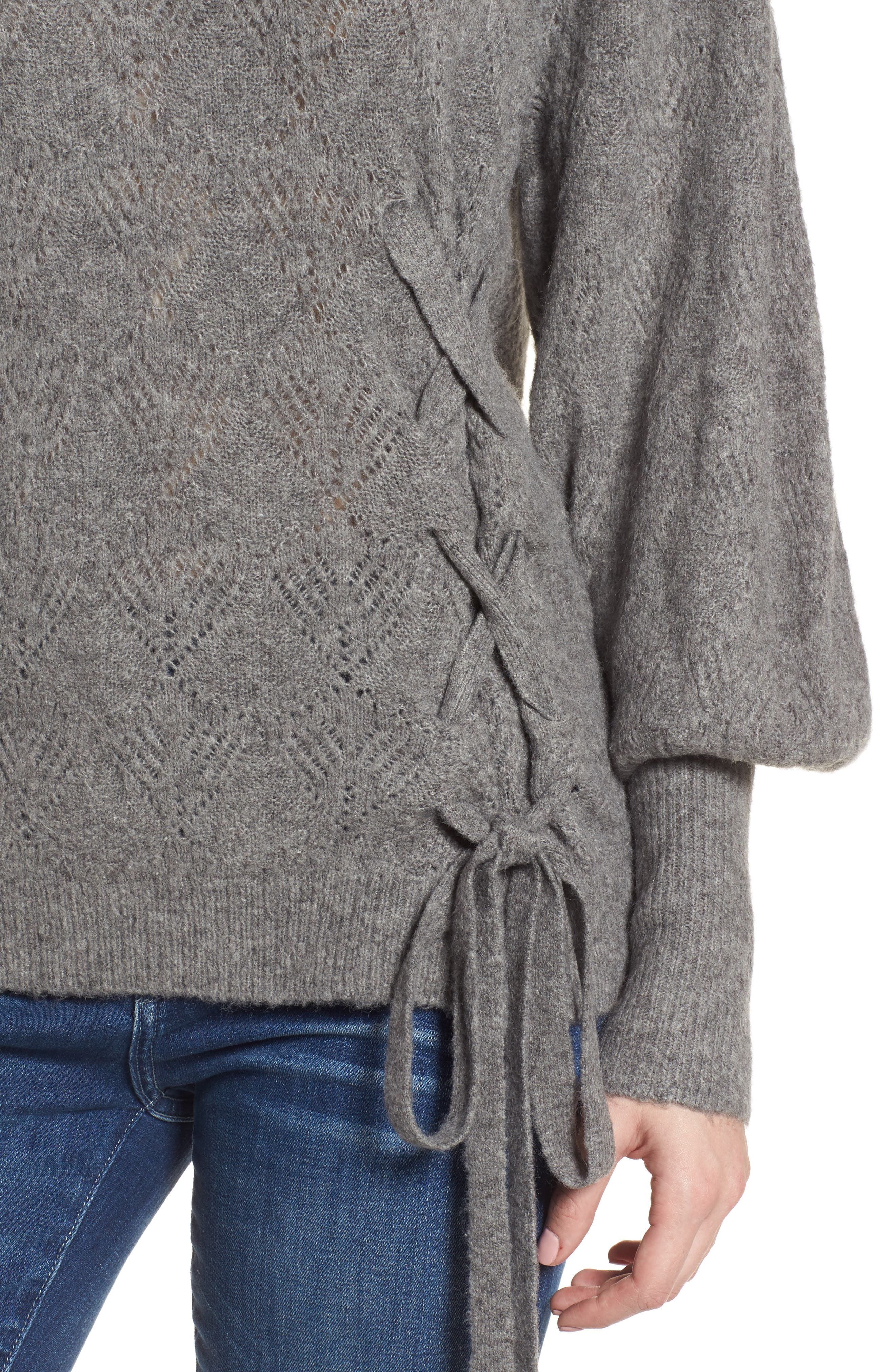 Tied Pointelle Knit Sweater,                             Alternate thumbnail 7, color,