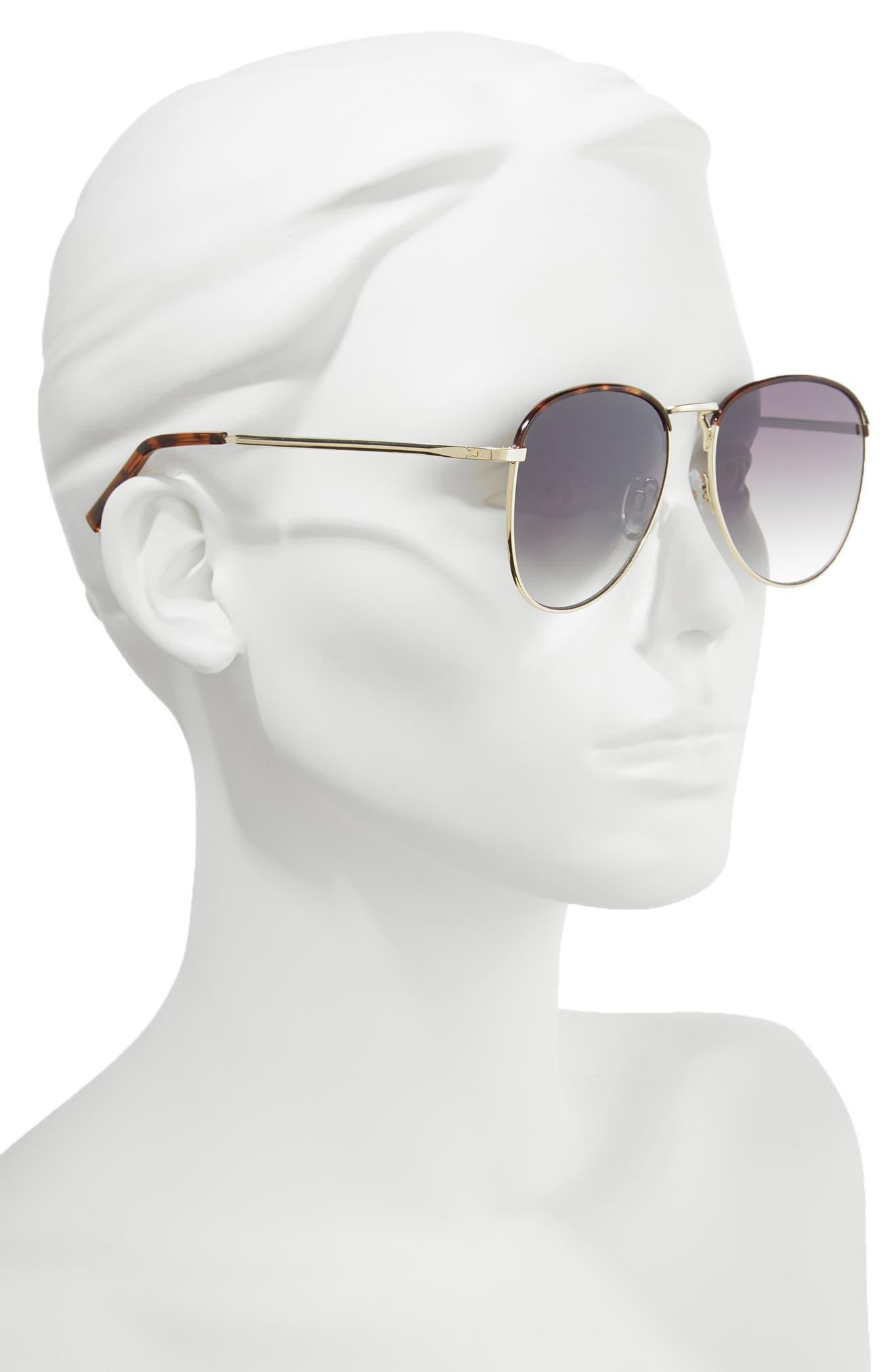 Clovelly 56mm Metal Sunglasses,                             Alternate thumbnail 2, color,                             DARK TORT