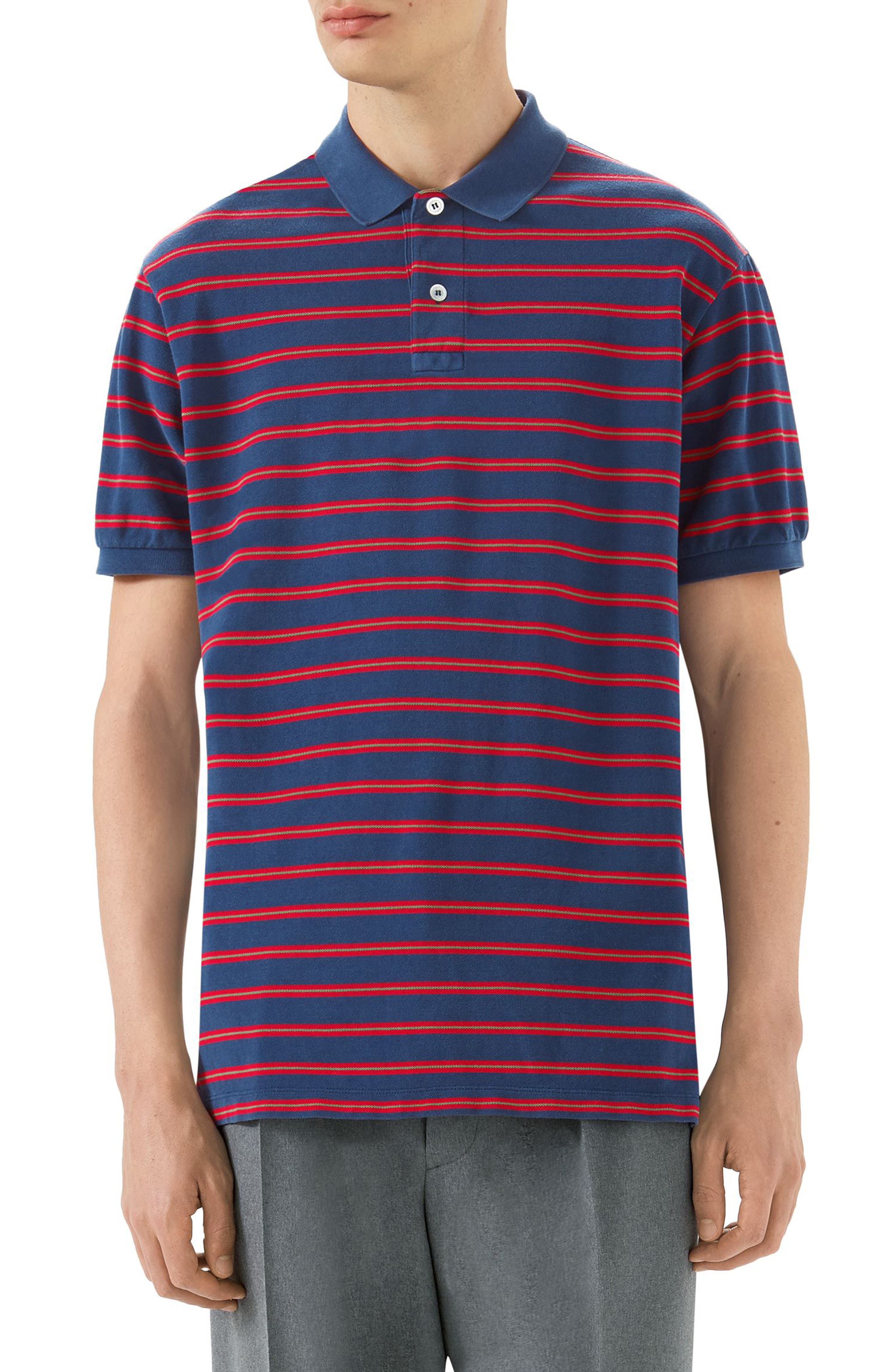 Oversized Stripe Polo,                             Main thumbnail 1, color,                             INCHIOSTRO/RED