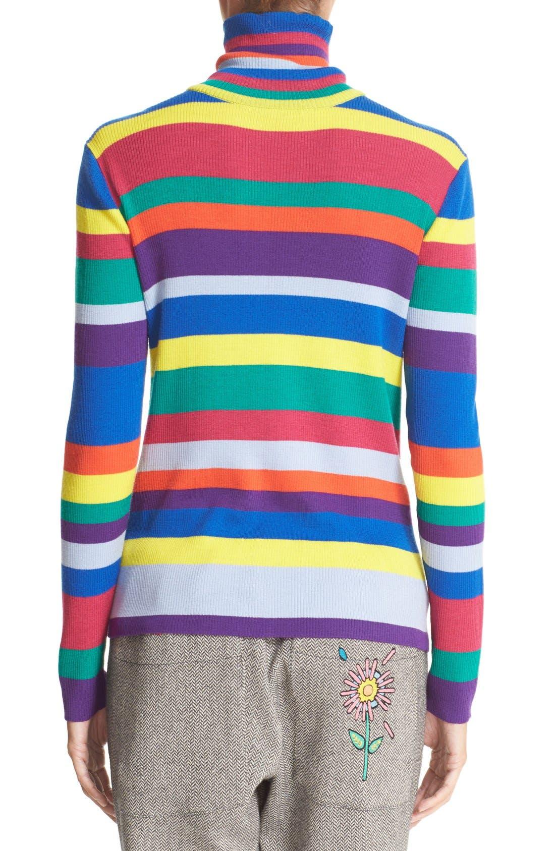 Stripe Merino Wool Turtleneck,                             Alternate thumbnail 5, color,                             960