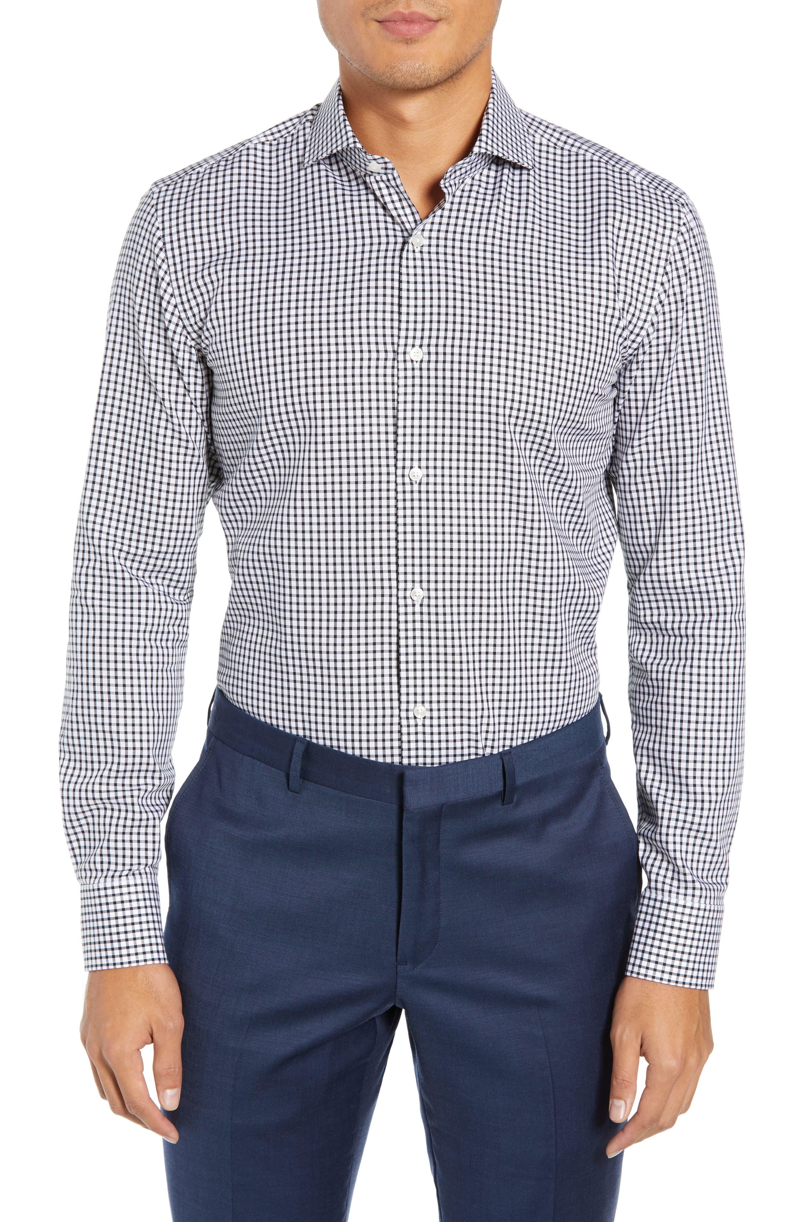 Jason Trim Fit Check Dress Shirt,                         Main,                         color, 002