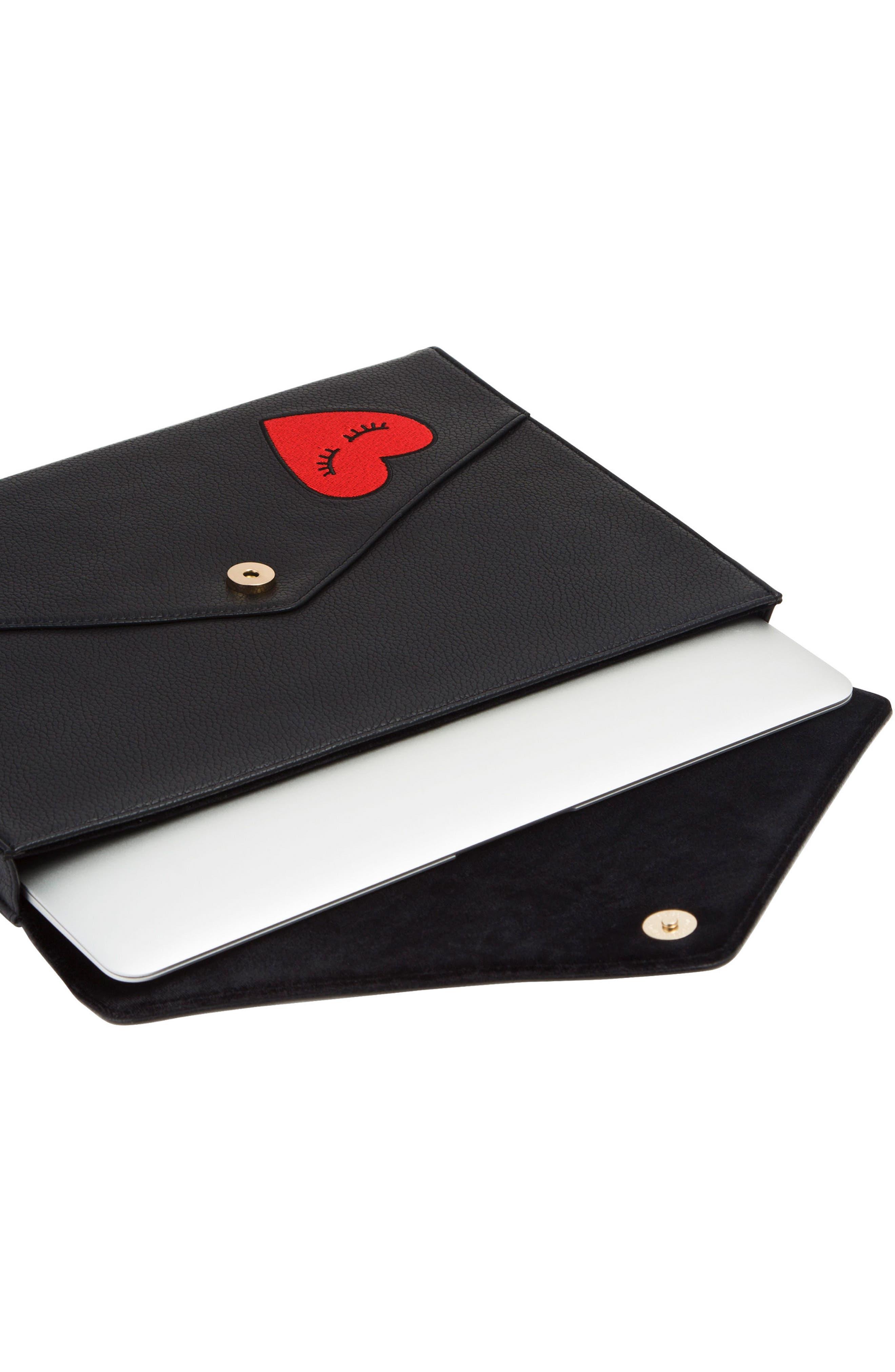 Fancy Heart Faux Leather Laptop Clutch,                             Alternate thumbnail 3, color,                             001
