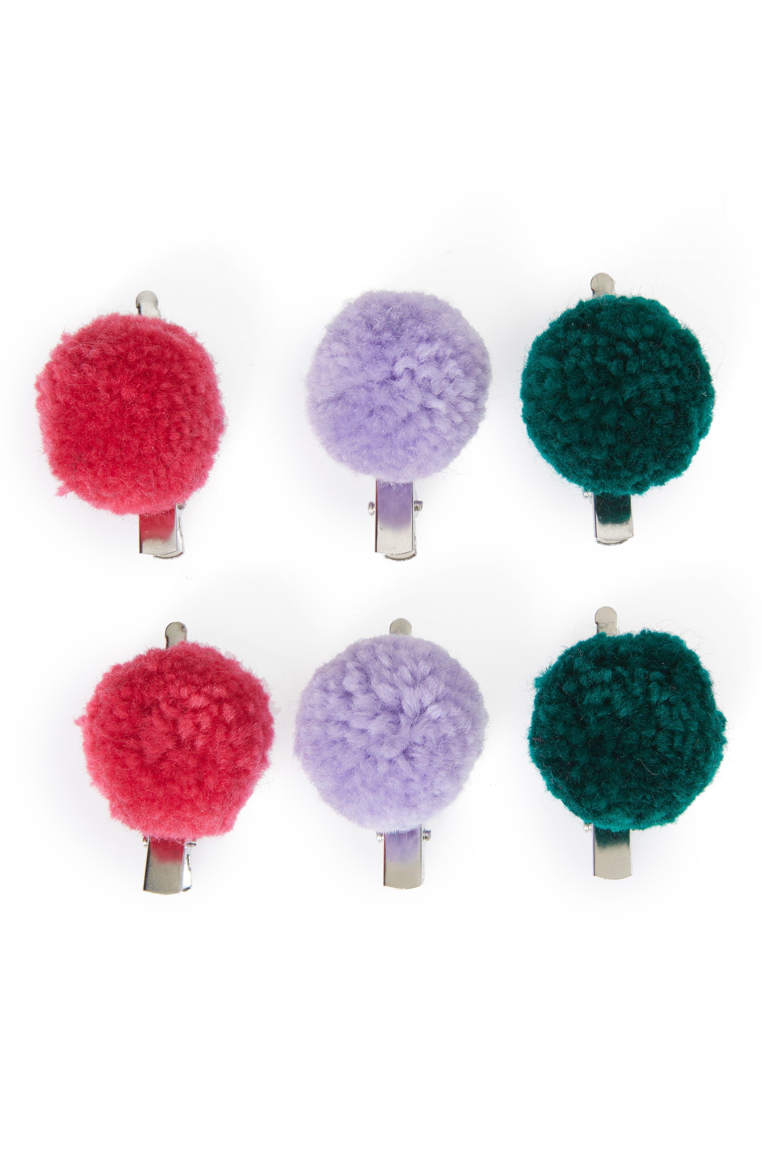 6-Piece Pompom Hair Clip Set,                         Main,                         color, MULTI