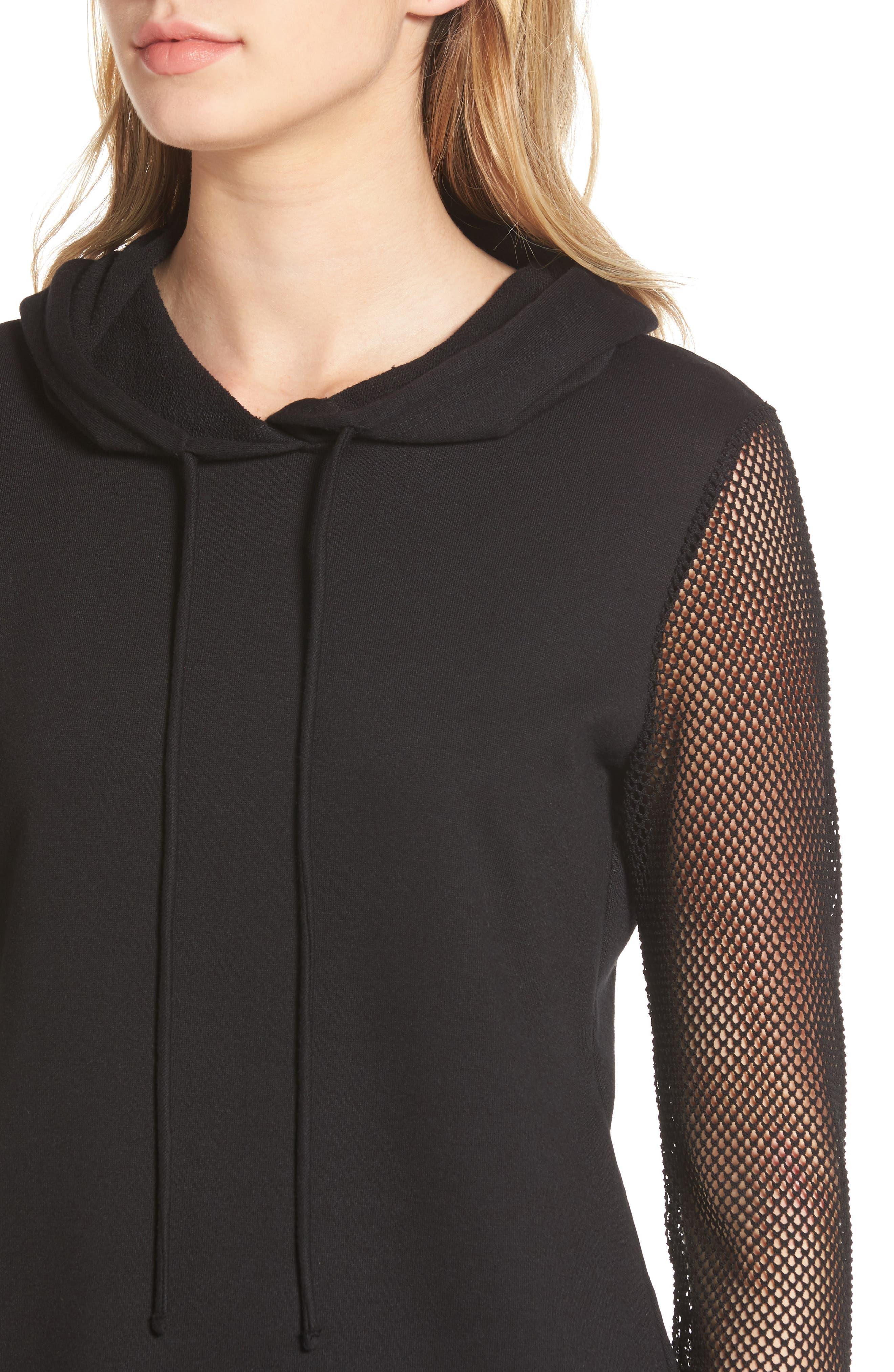 Mesh Sleeve Hoodie Dress,                             Alternate thumbnail 4, color,                             001