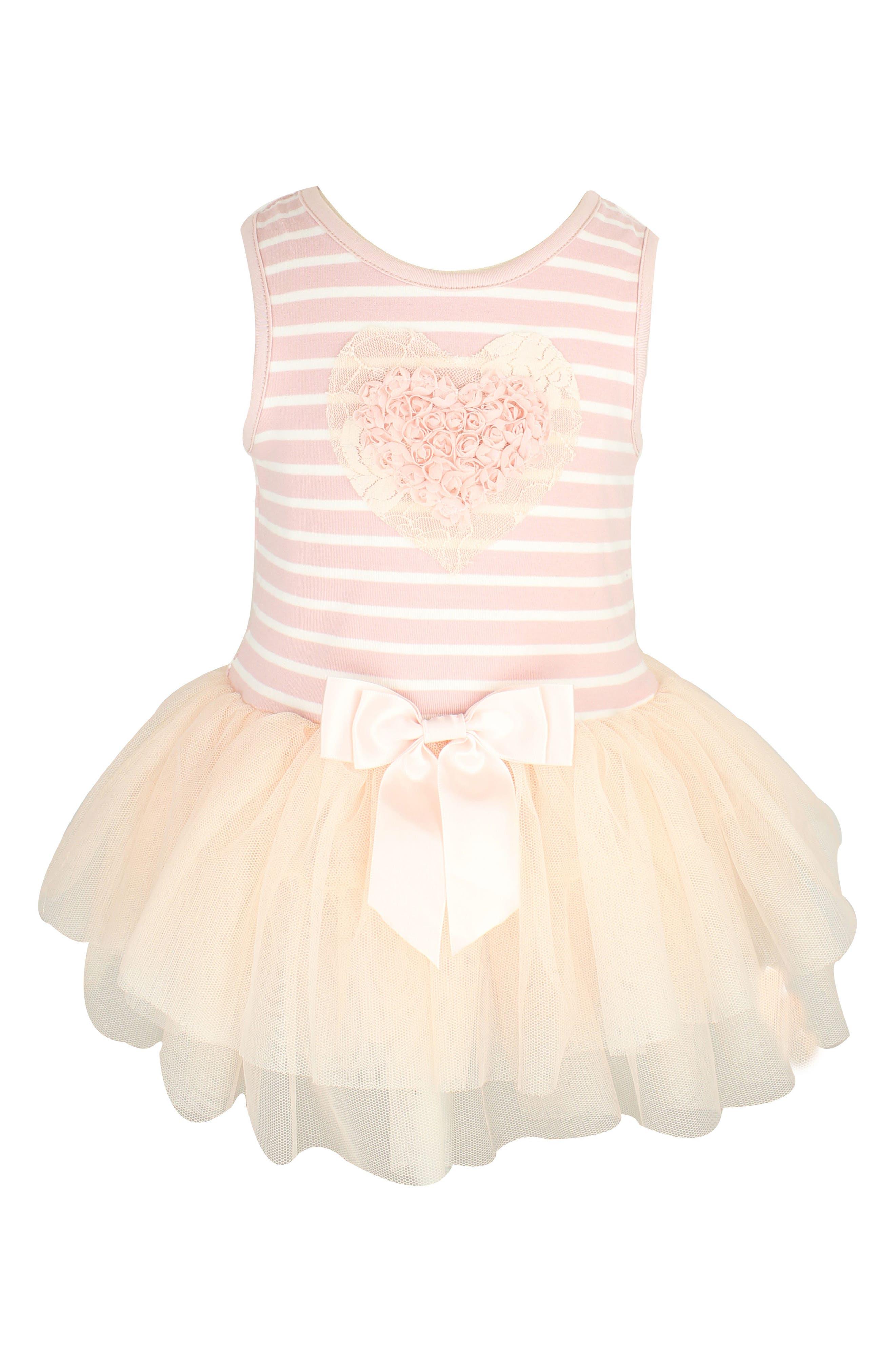 Rosette Heart Stripe Tutu Dress,                             Main thumbnail 1, color,                             PEACH
