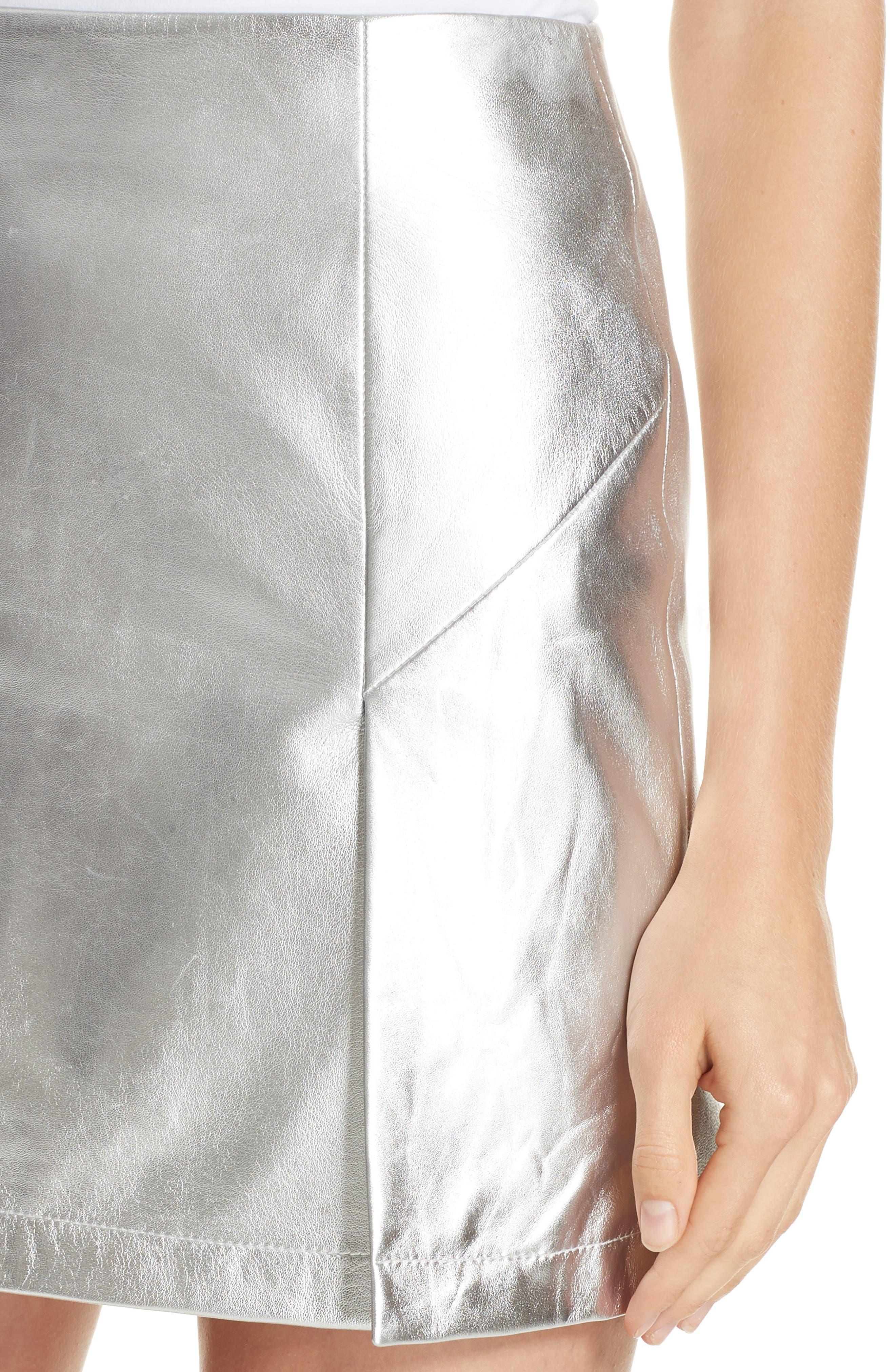 Metallic Leather Miniskirt,                             Alternate thumbnail 4, color,                             040