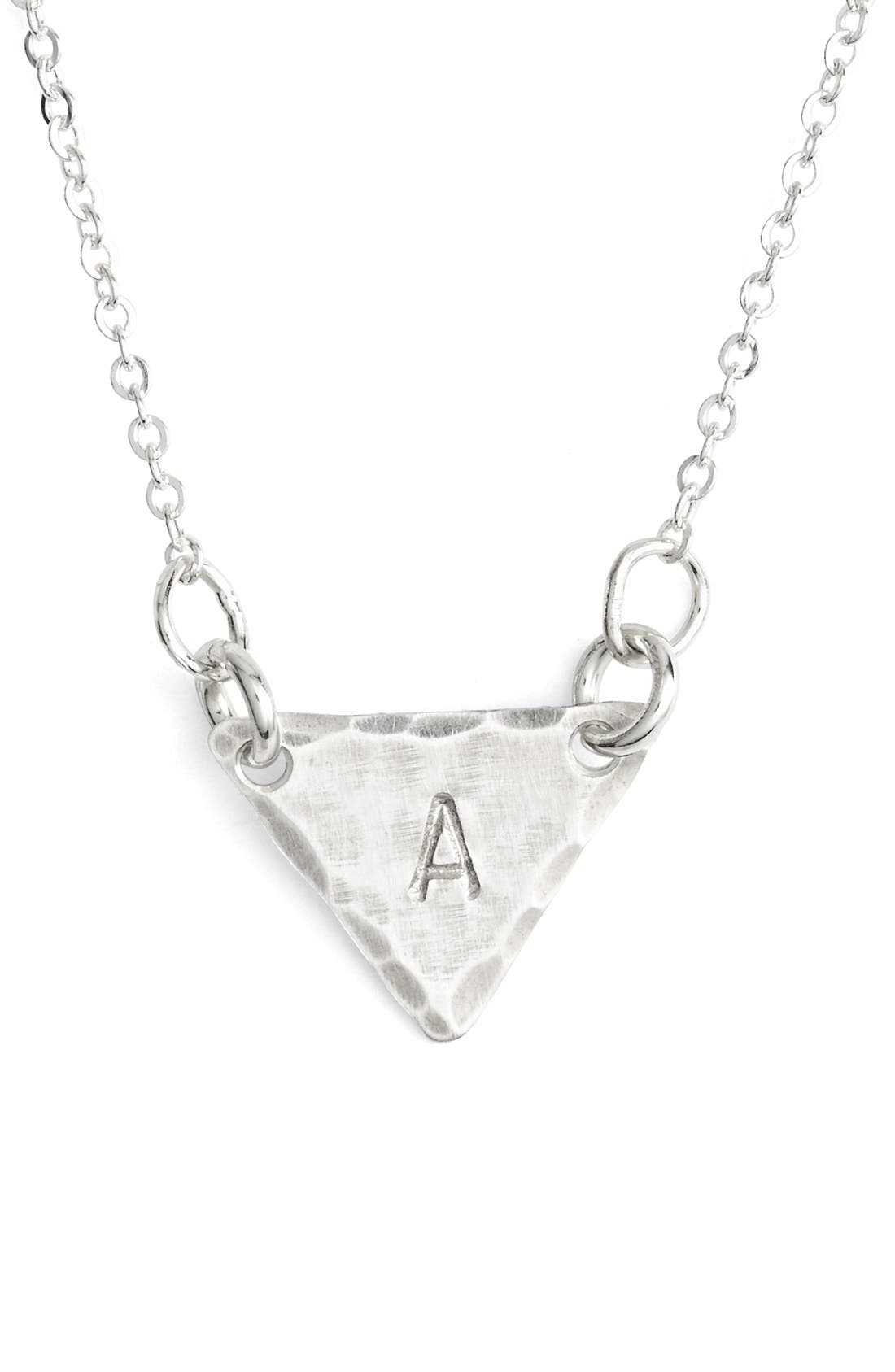 Sterling Silver Initial Mini Triangle Necklace,                             Main thumbnail 1, color,                             040
