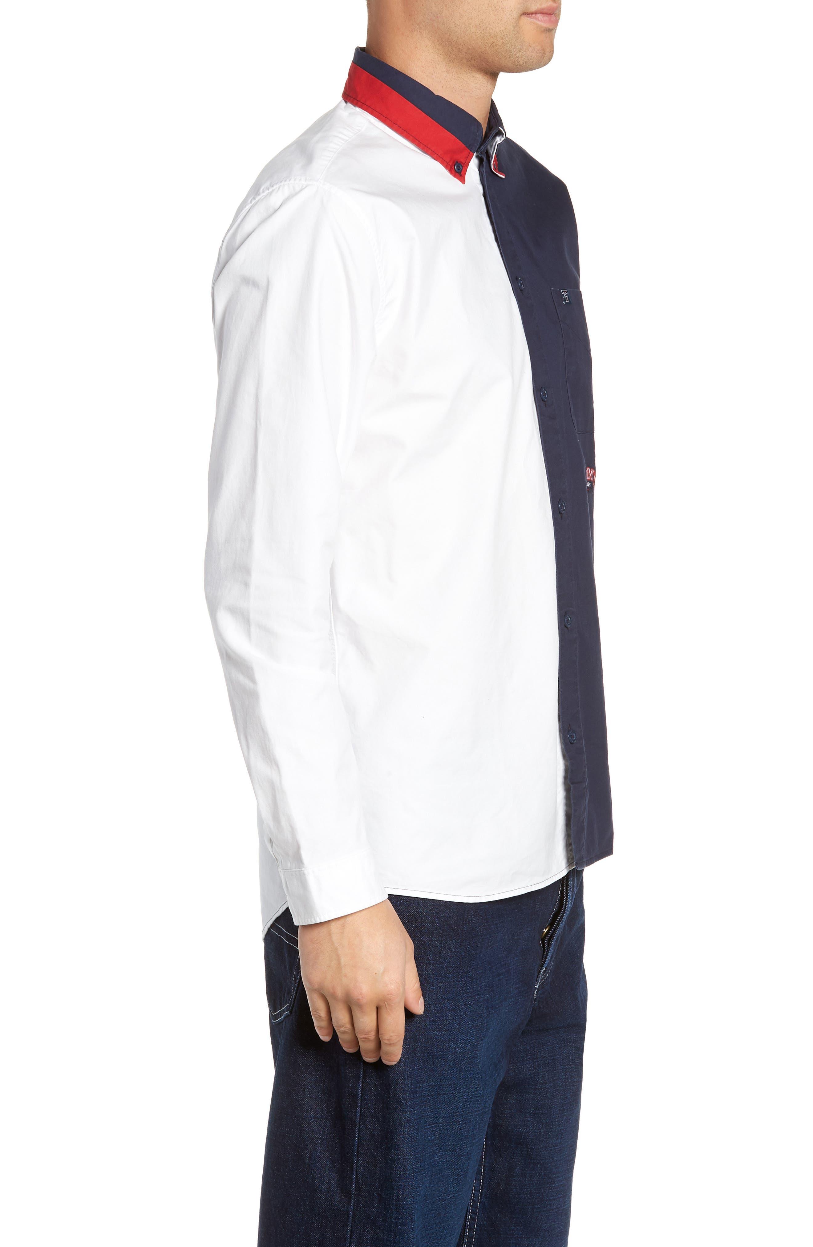 Half & Half Shirt,                             Alternate thumbnail 4, color,                             CLASSIC WHITE / BLACK IRIS