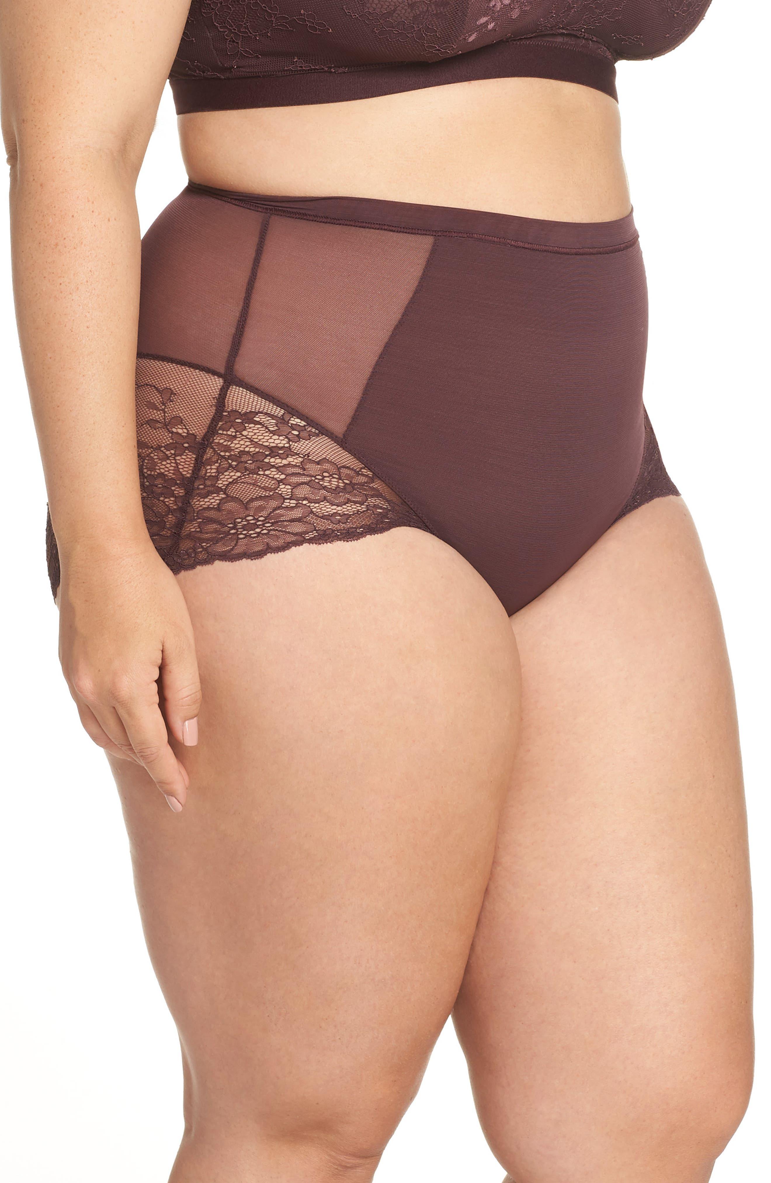 Spotlight On Lace Briefs,                             Alternate thumbnail 3, color,                             GARNET