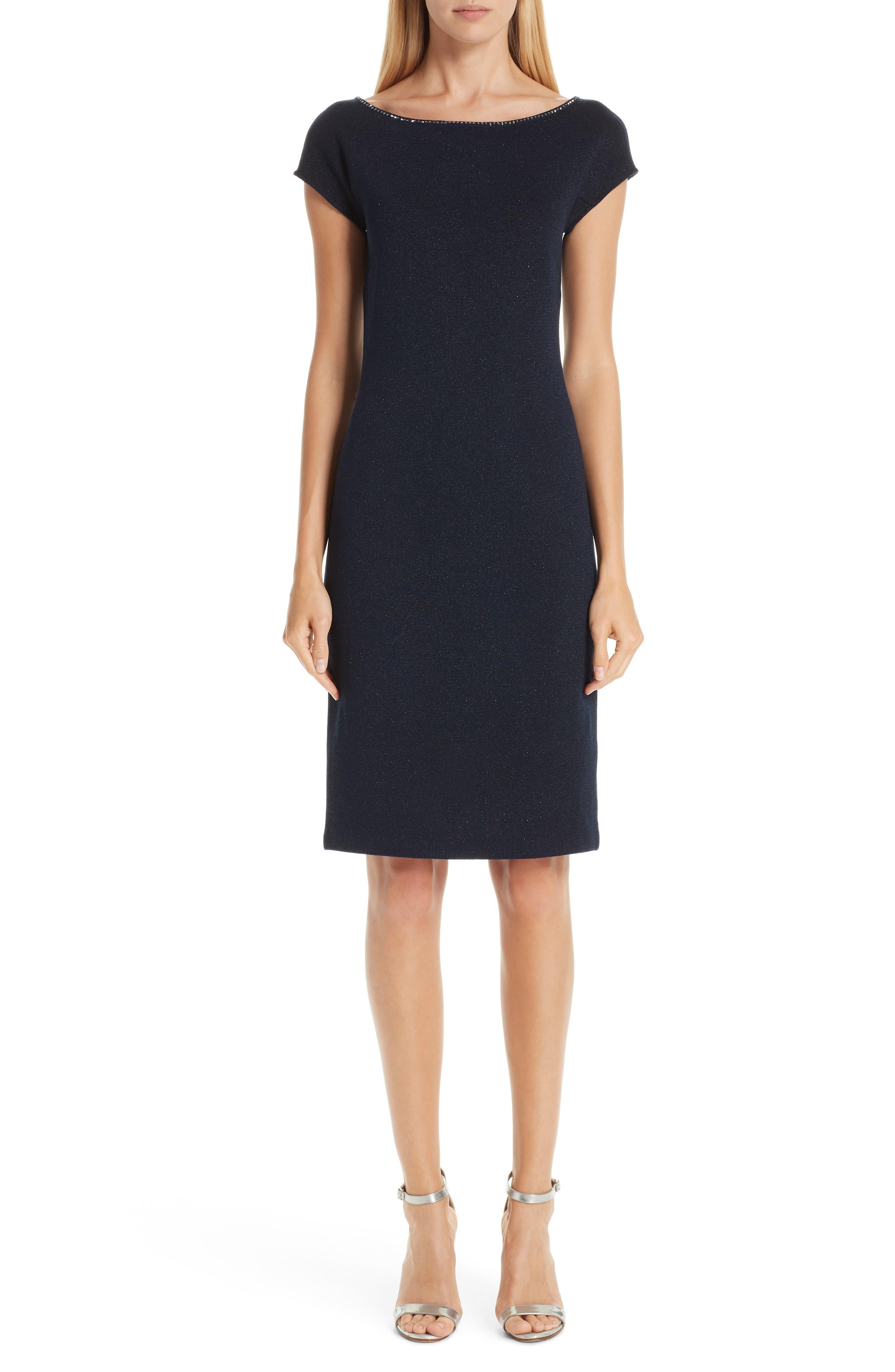 St. John Collection Mod Metallic Knit Sheath Dress, Blue
