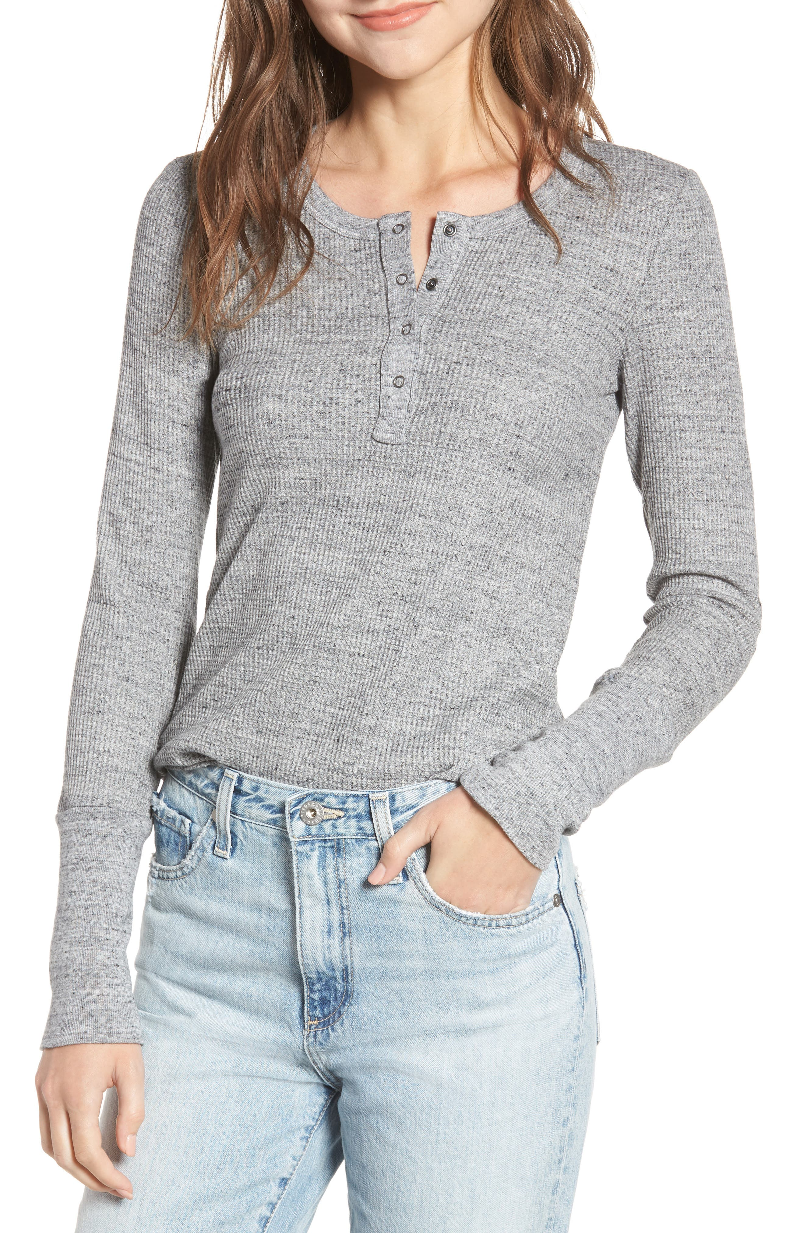 Thermal Henley Tee,                         Main,                         color, HEATHER GREY