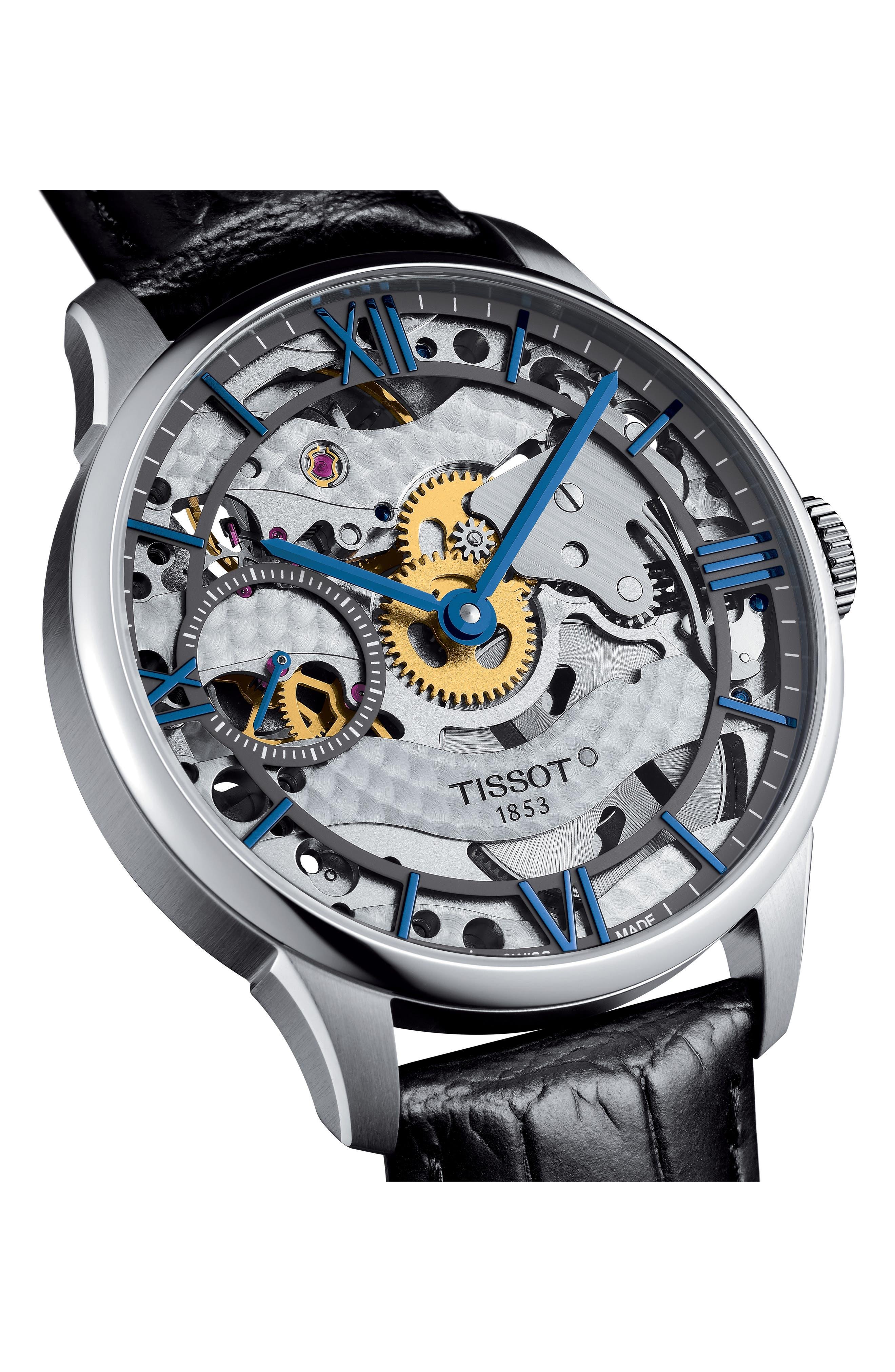 T-Complication Squellette Mechanical Watch, 42mm,                             Alternate thumbnail 3, color,                             BLACK/ SILVER