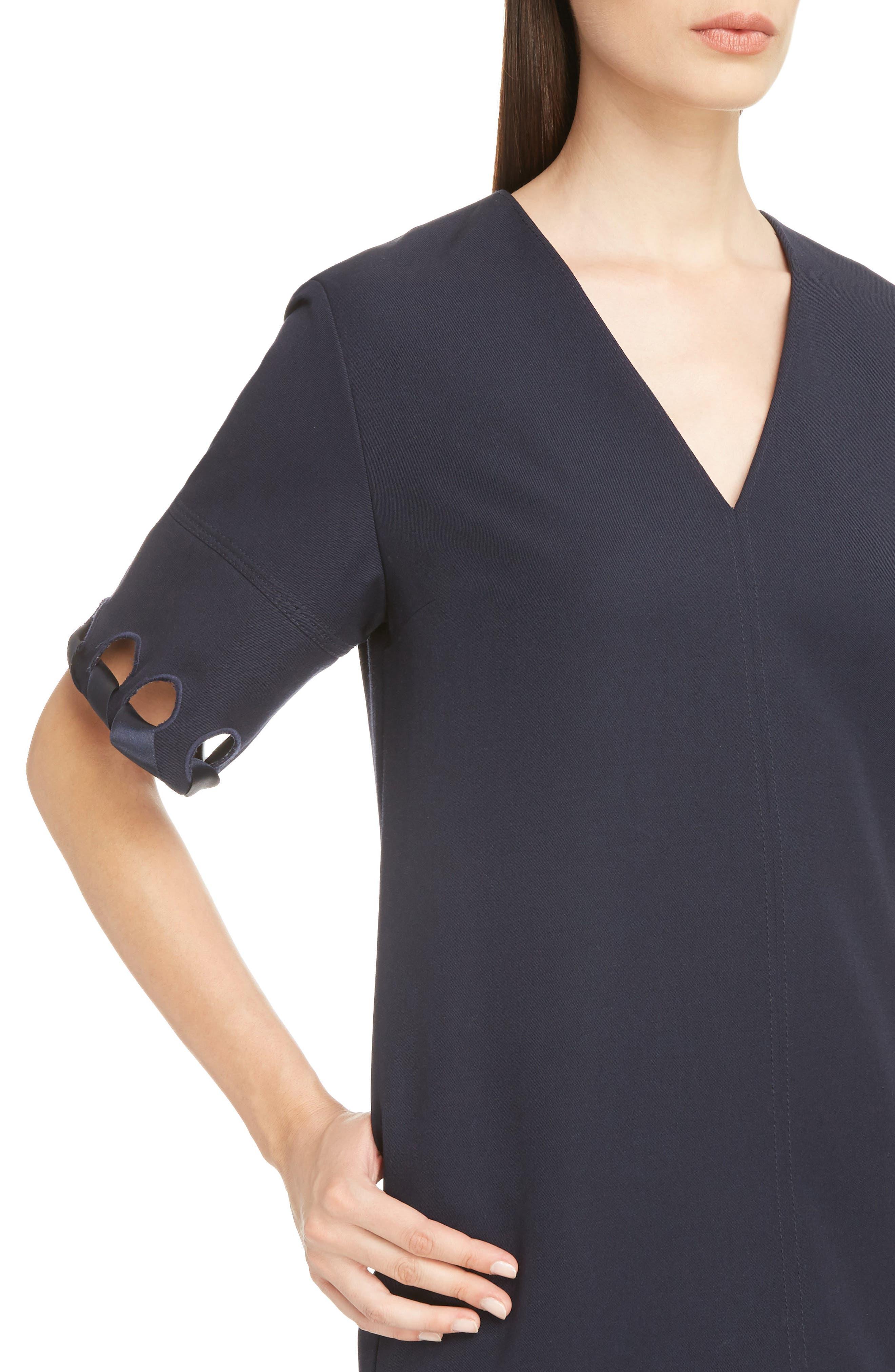 Lace Sleeve Wool Shift Dress,                             Alternate thumbnail 4, color,                             400