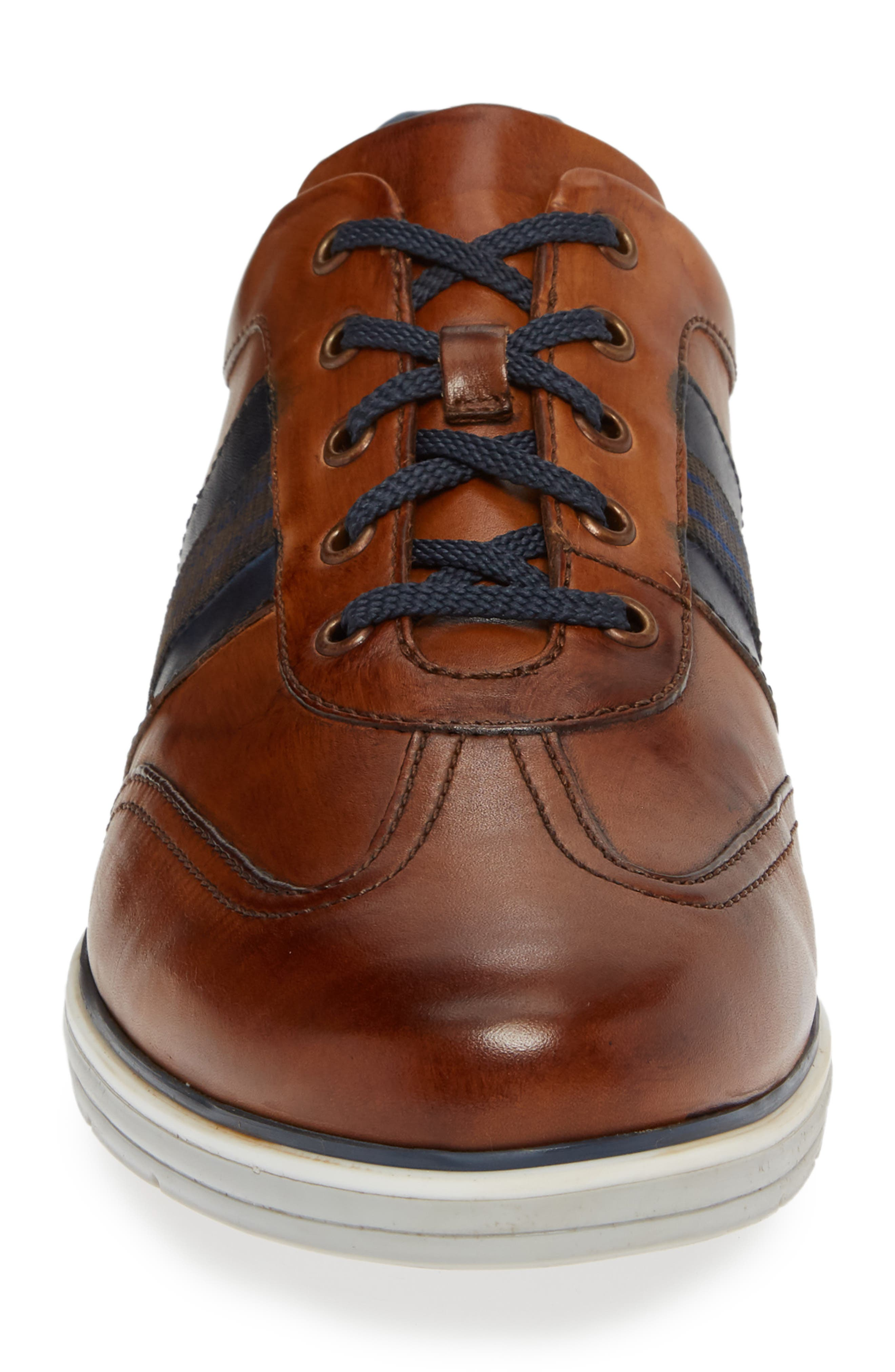 Turbo Low Top Sneaker,                             Alternate thumbnail 4, color,                             COGNAC LEATHER