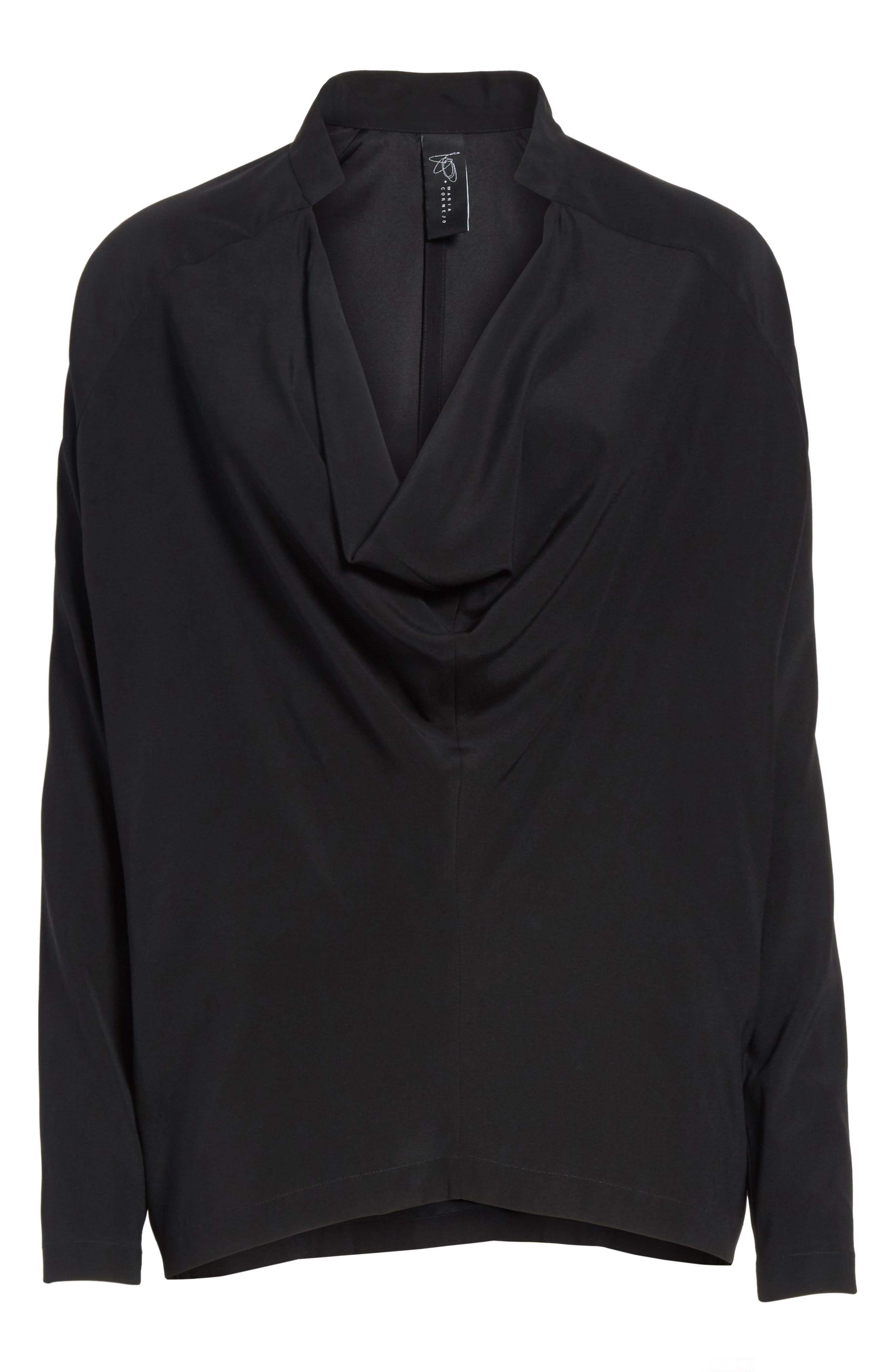 Drape Neck Stretch Silk Blouse,                             Alternate thumbnail 6, color,                             BLACK