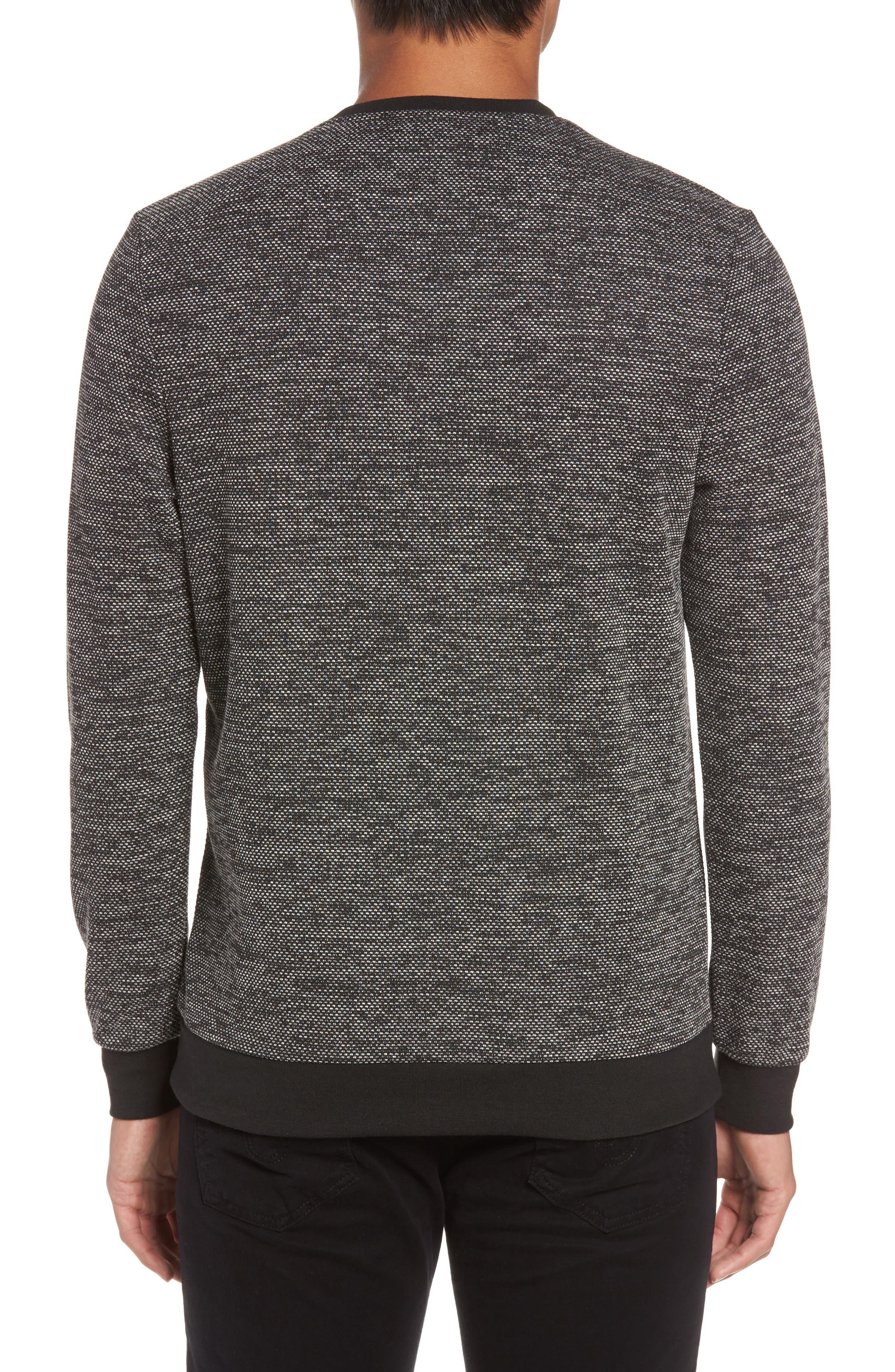 Trim Fit Mélange Pullover,                             Alternate thumbnail 2, color,                             BLACK/WHITE