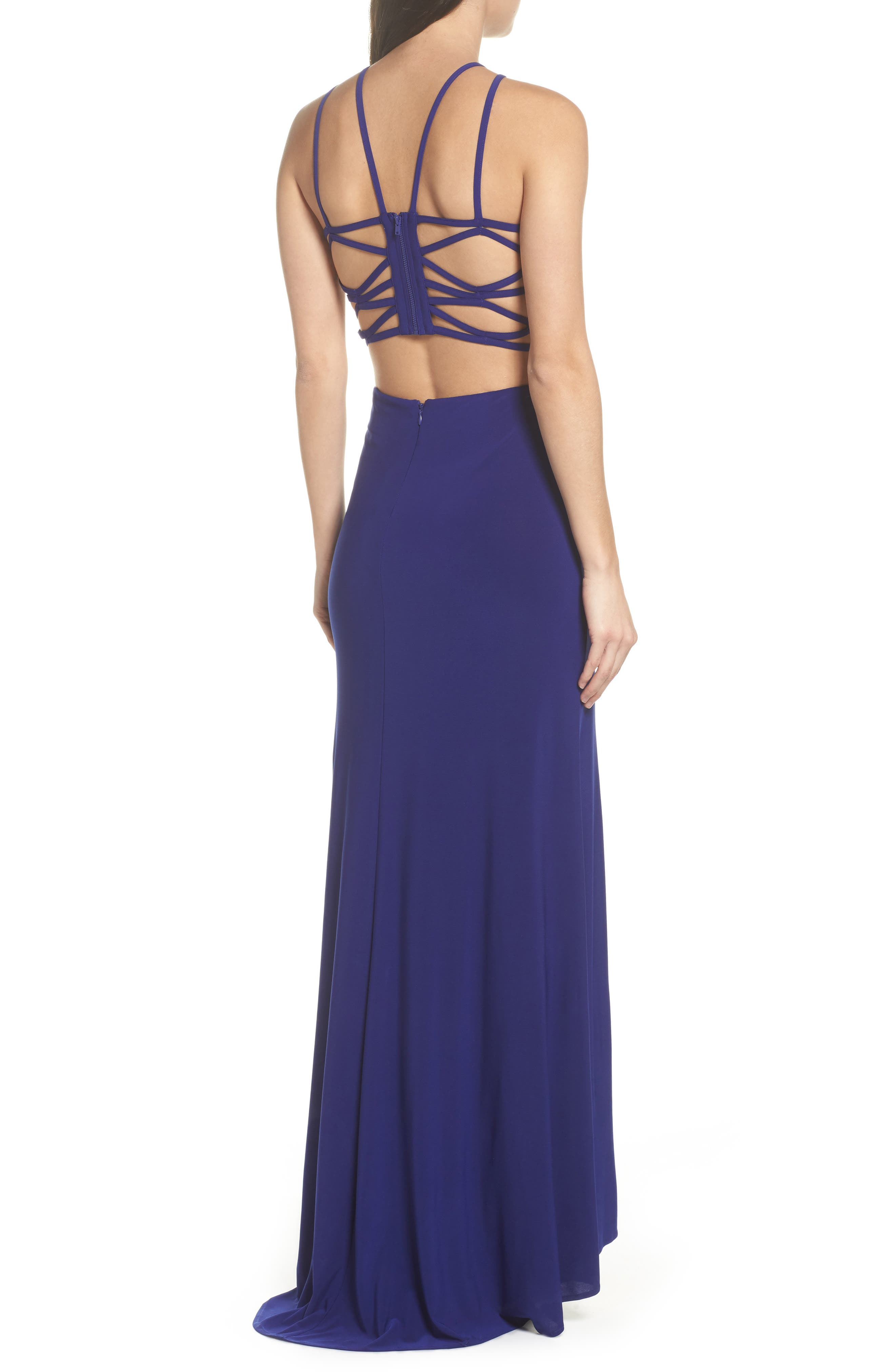 MORGAN & CO.,                             Strappy Trumpet Gown,                             Alternate thumbnail 2, color,                             ELECTRIC BLUE