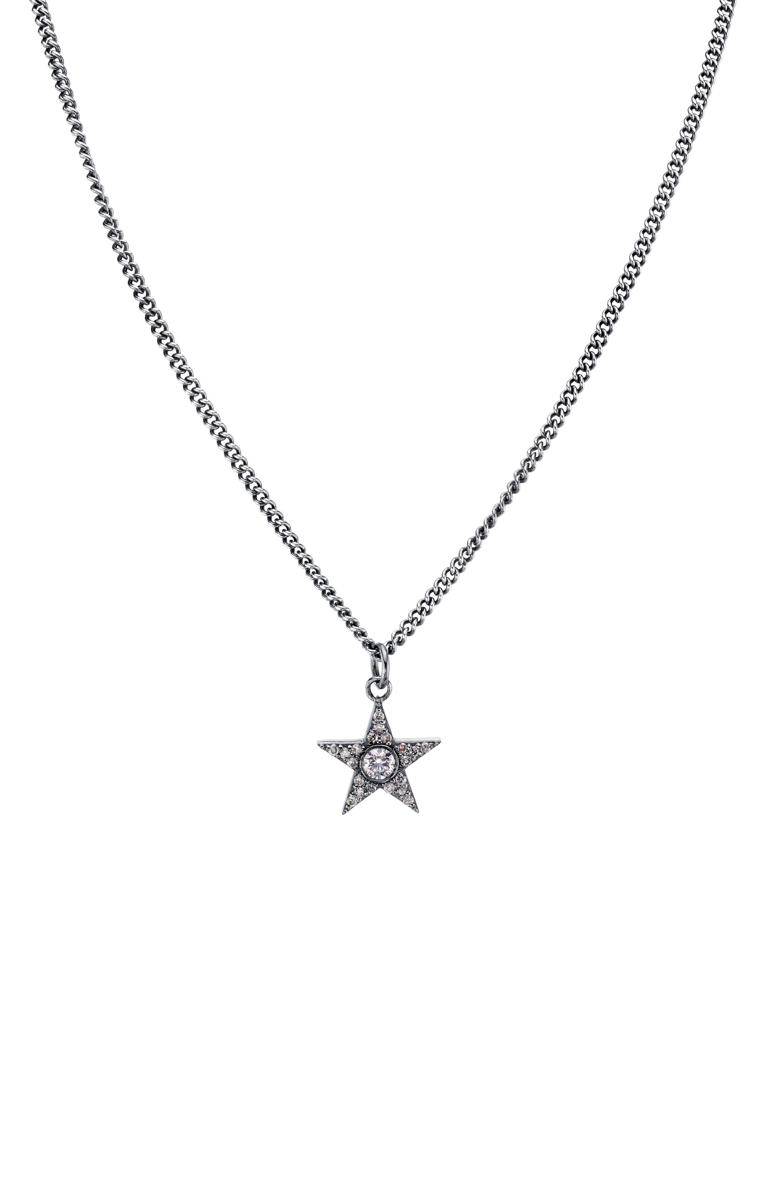 Bezel Diamond Star Pendant Necklace in Sterling Silver