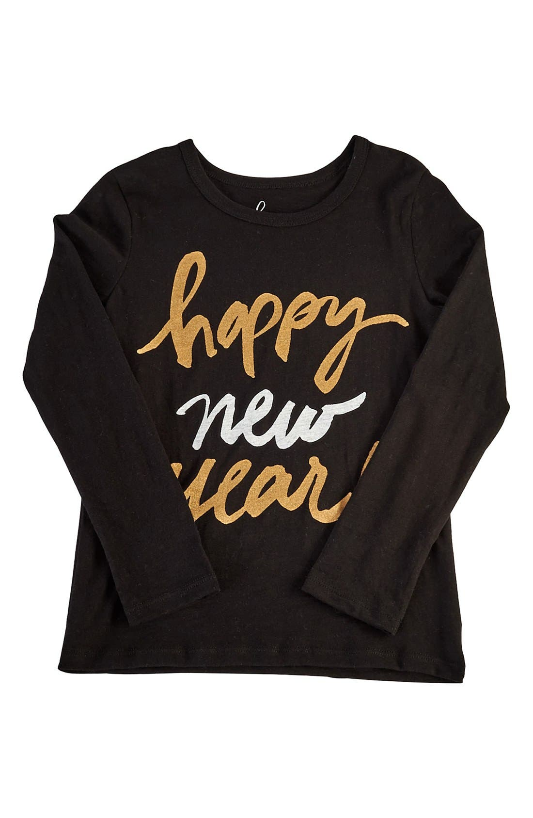 PEEK AREN'T YOU CURIOUS,                             Peek 'Happy New Year' Long Sleeve Graphic Tee,                             Main thumbnail 1, color,                             001