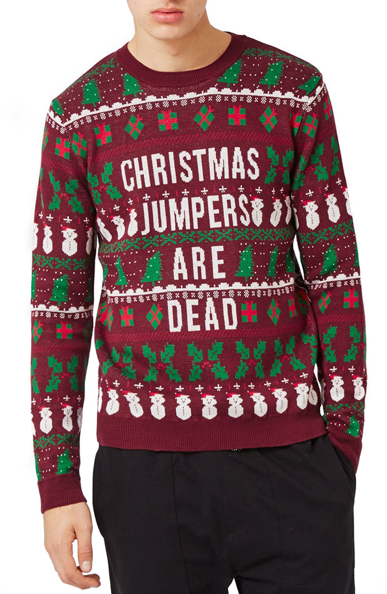 Christmas Jumpers Are Dead Sweater,                             Main thumbnail 1, color,                             930