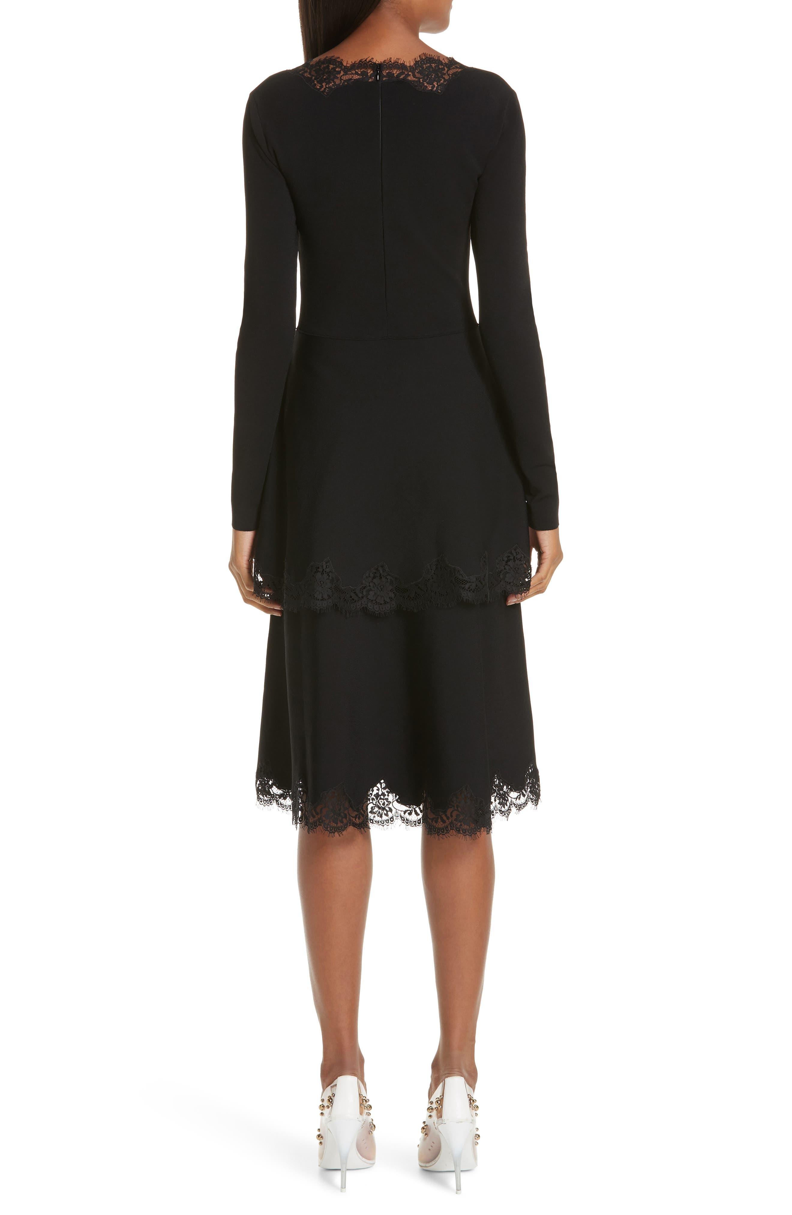 Lace Trim Tiered Sweater Dress,                             Alternate thumbnail 2, color,                             BLACK