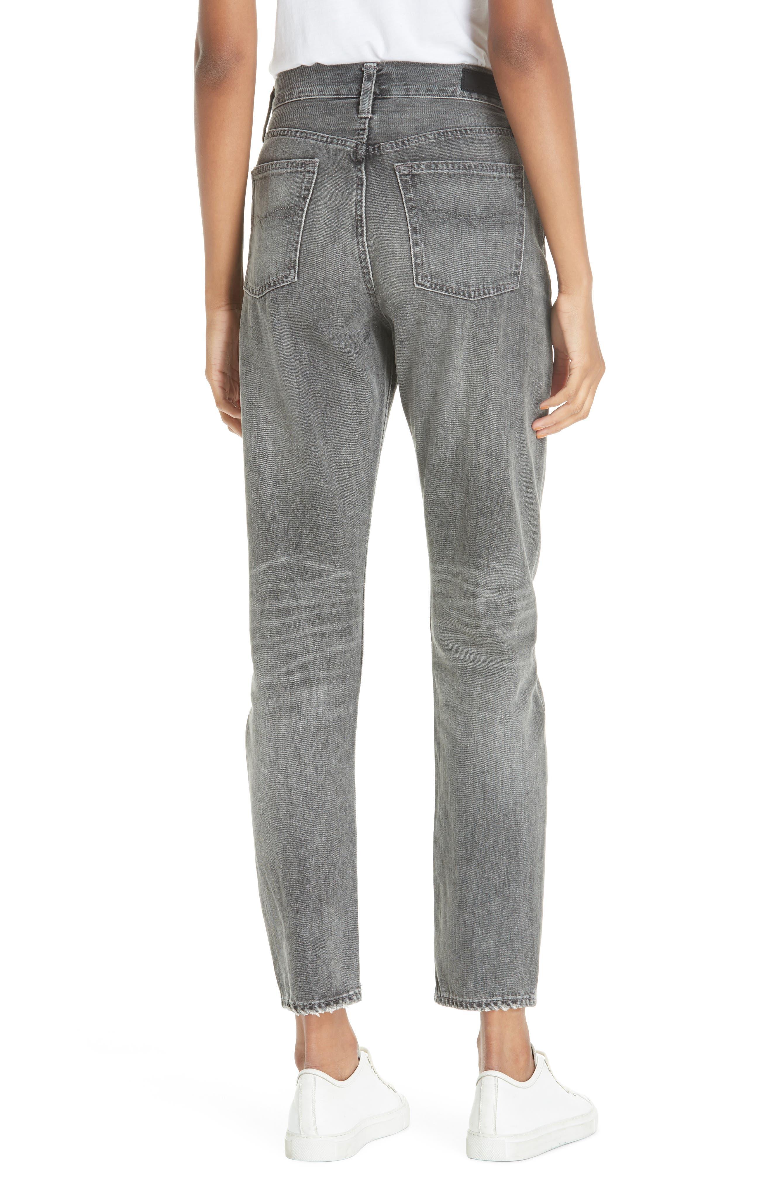 High Waist Slim Straight Crop Jeans,                             Alternate thumbnail 2, color,                             GREY