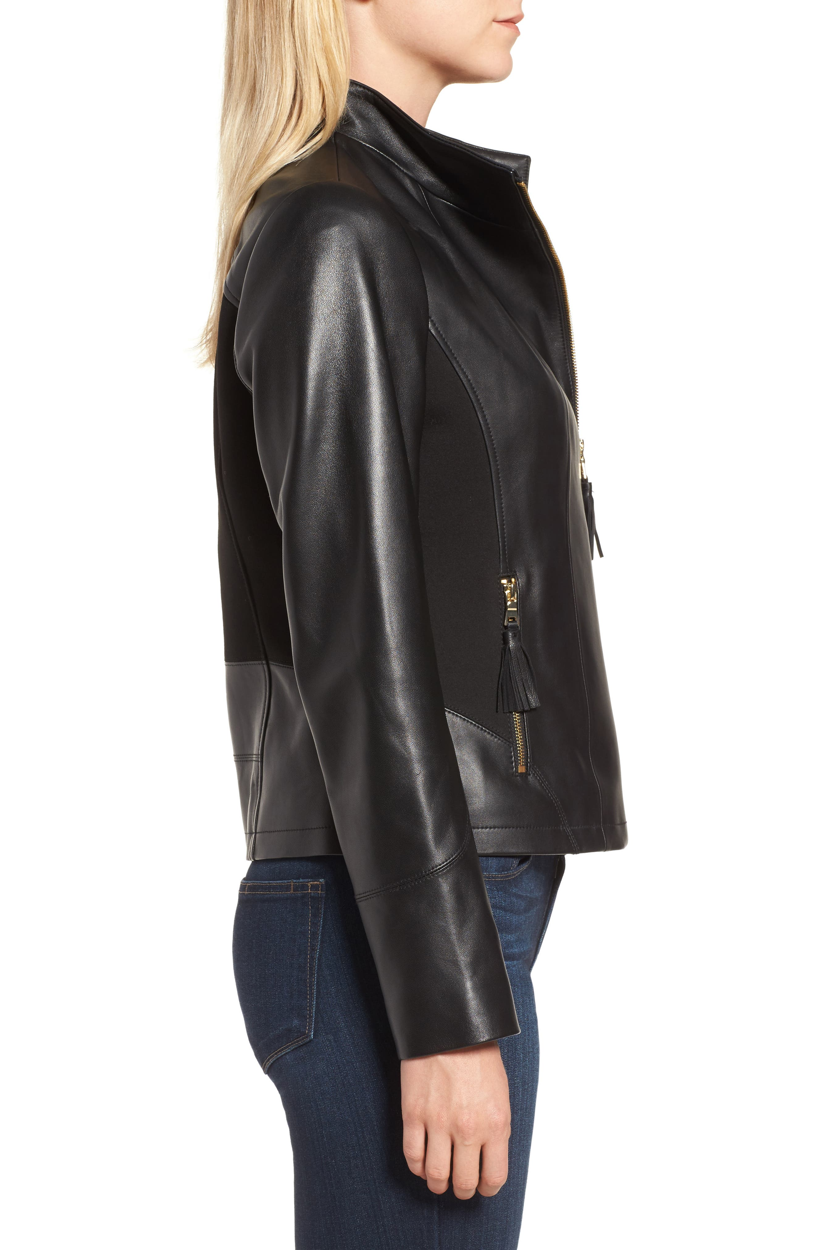 Ponte & Leather Jacket,                             Alternate thumbnail 3, color,                             001