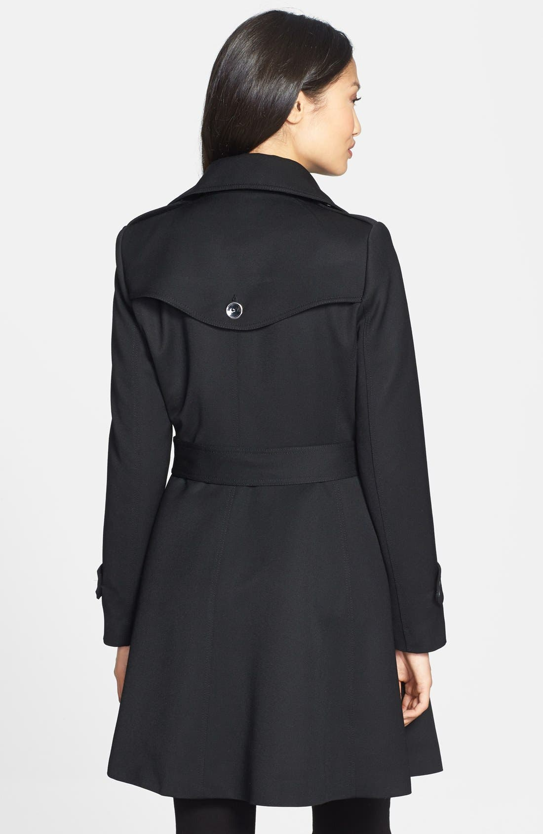 'Gwyneth' Flared Wool Gabardine Trench Coat,                             Alternate thumbnail 2, color,                             001