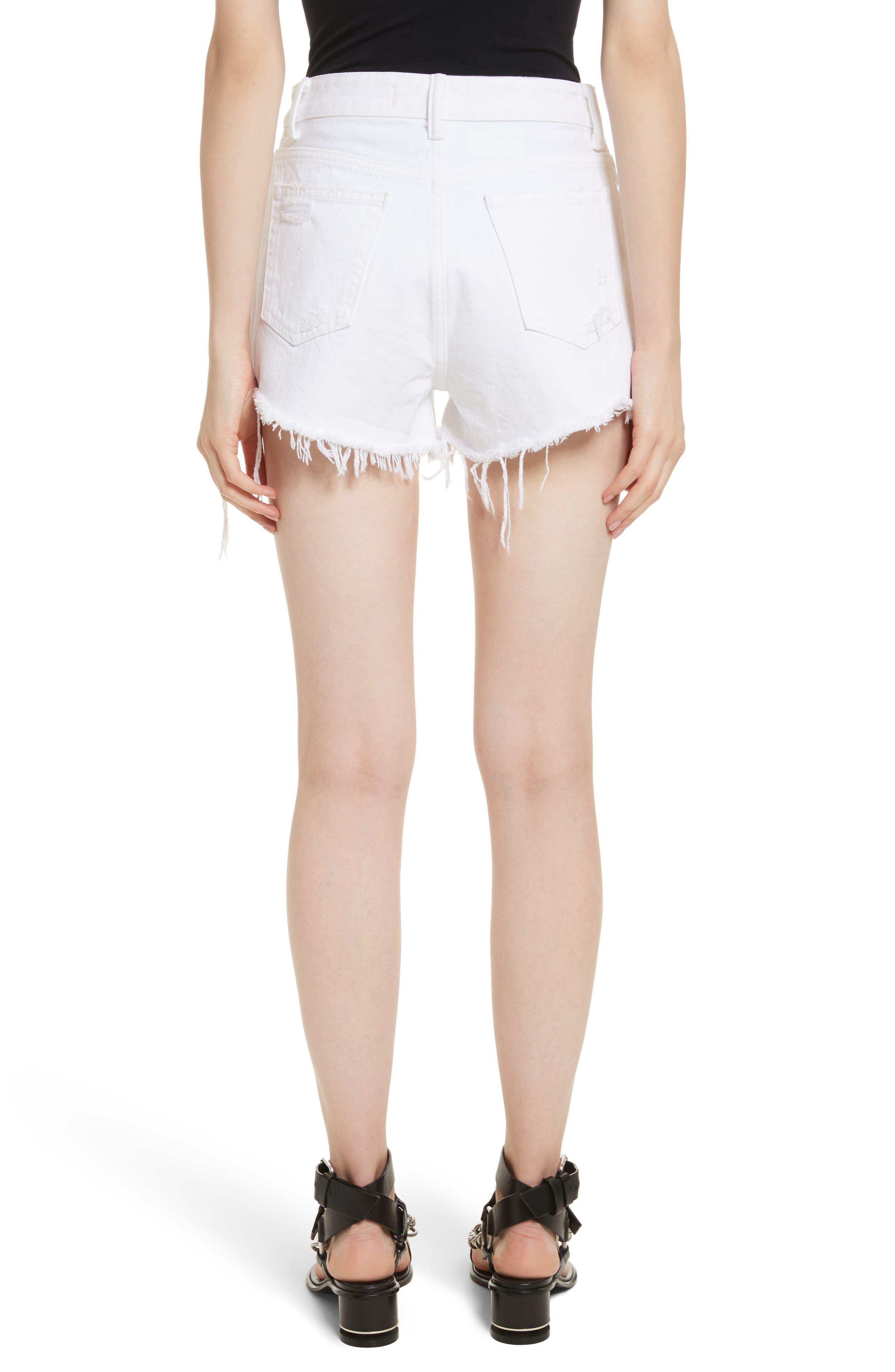 Bite White Ripped Denim Shorts,                             Alternate thumbnail 2, color,