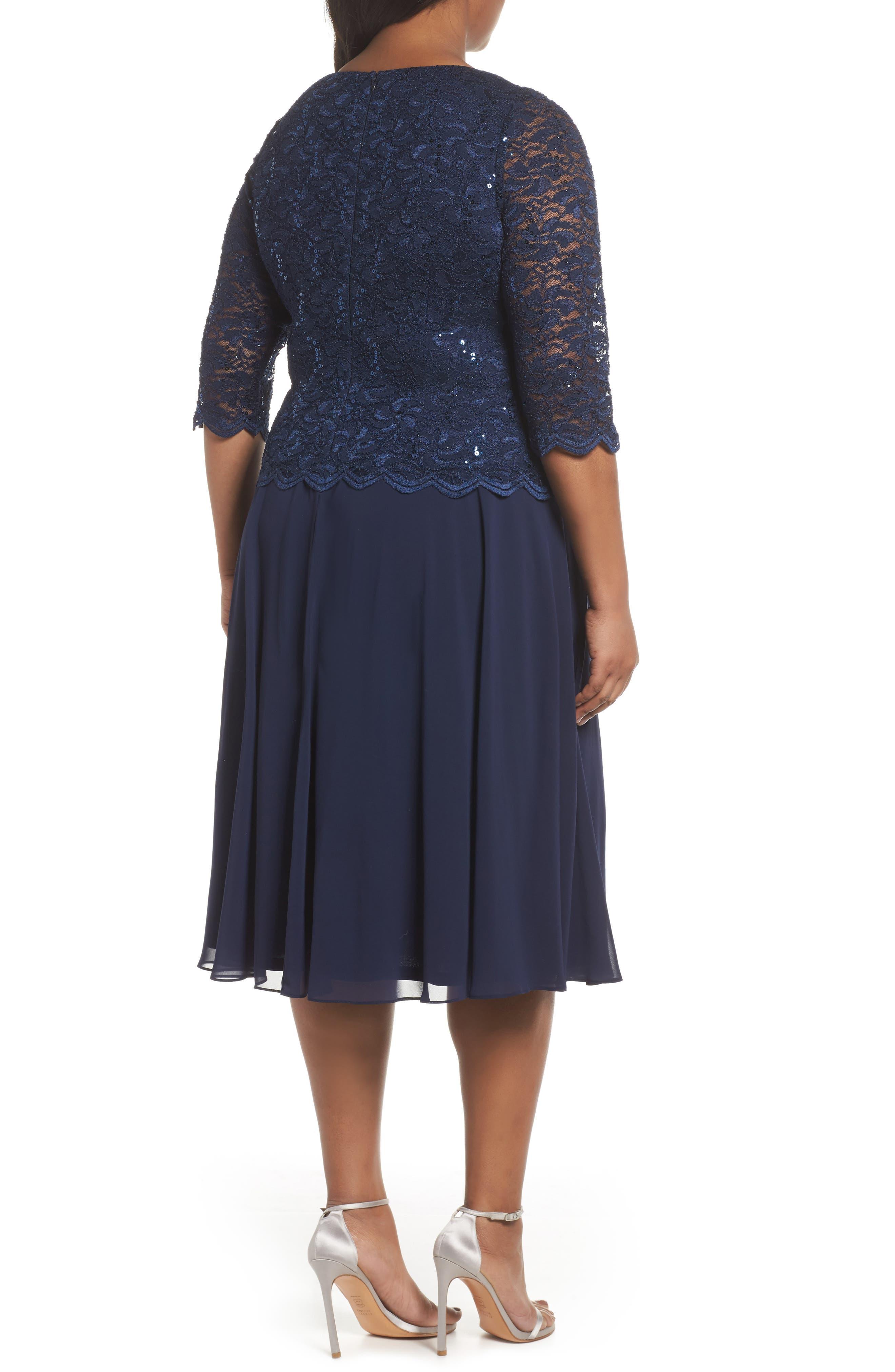 V-Neck Lace Dress,                             Alternate thumbnail 2, color,