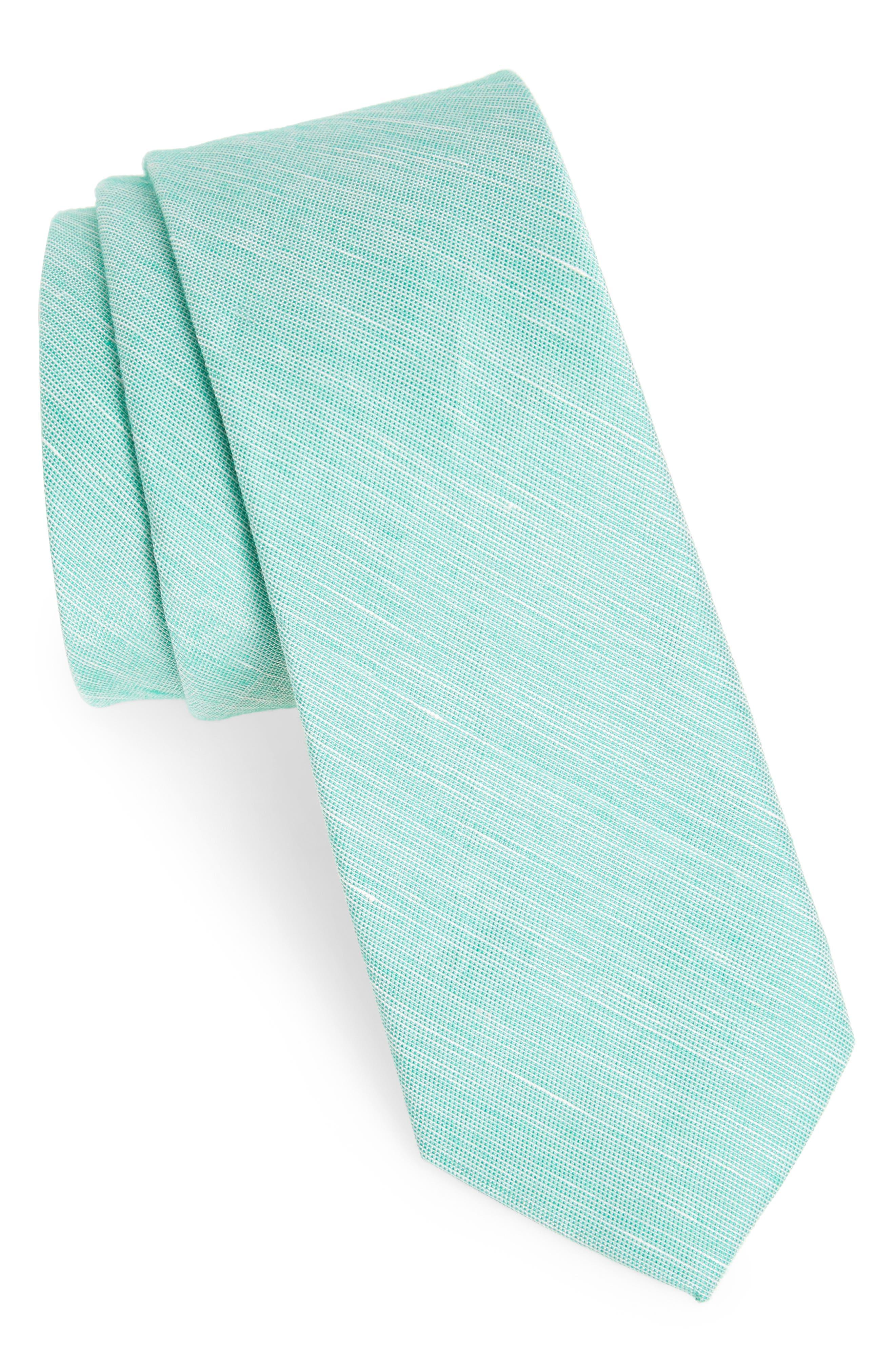 Adena Solid Silk Blend Skinny Tie,                             Main thumbnail 2, color,