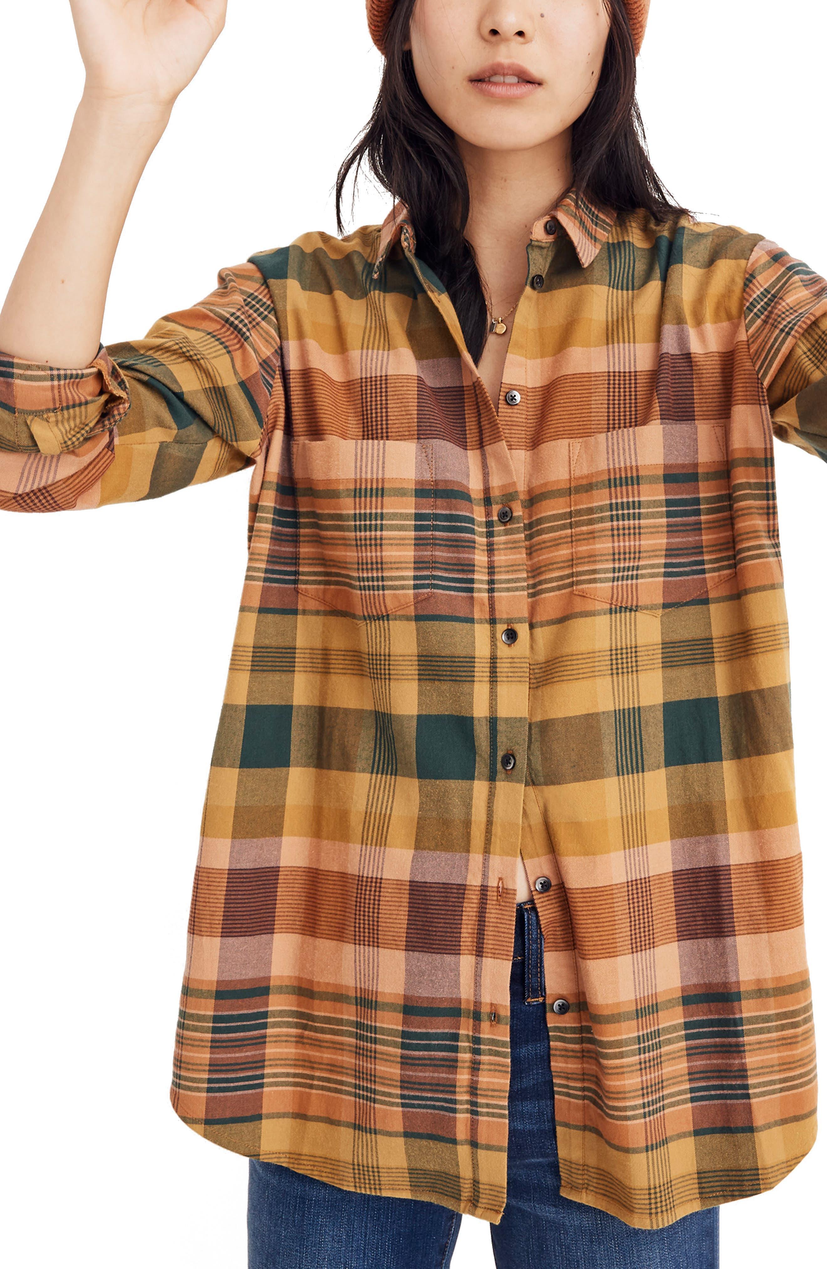 Seconda Plaid Sunday Flannel Shirt,                         Main,                         color, EGYPTIAN GOLD
