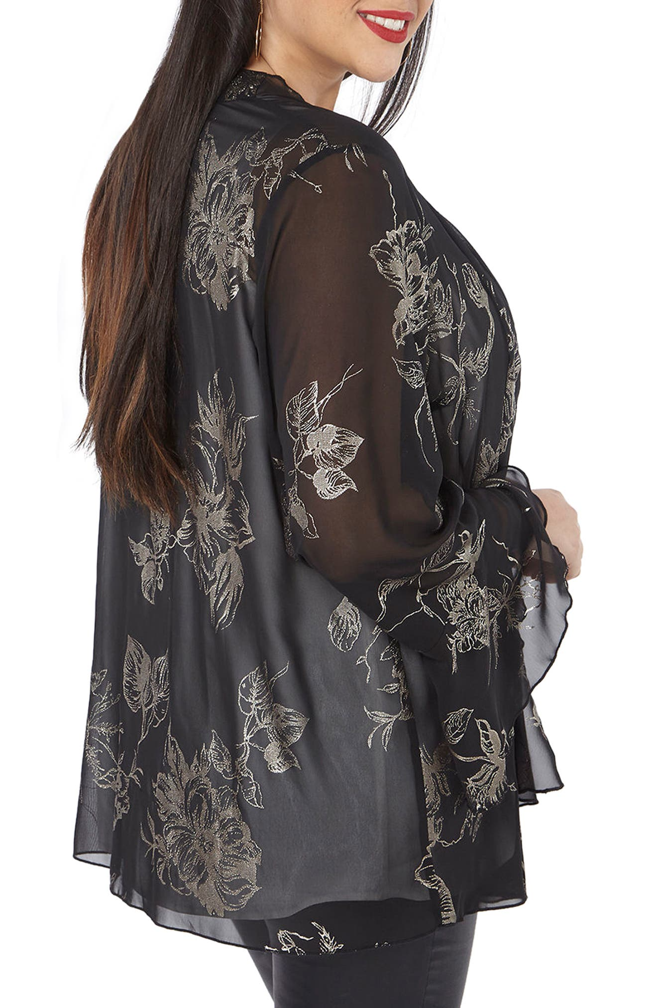 Gold Foil Bell Sleeve Kimono,                             Alternate thumbnail 2, color,                             001