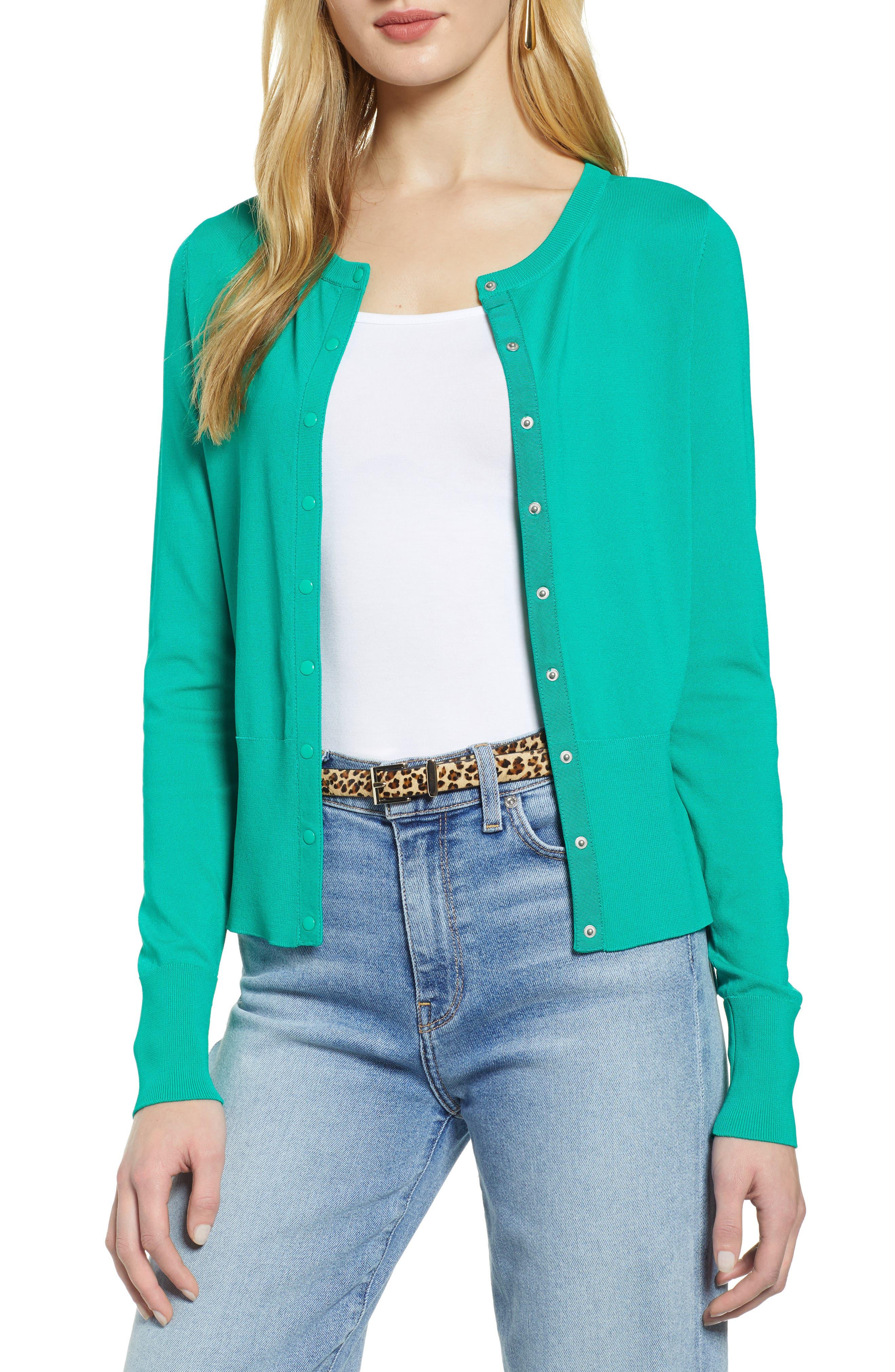 Petite Halogen Snap Front Cardigan, Green