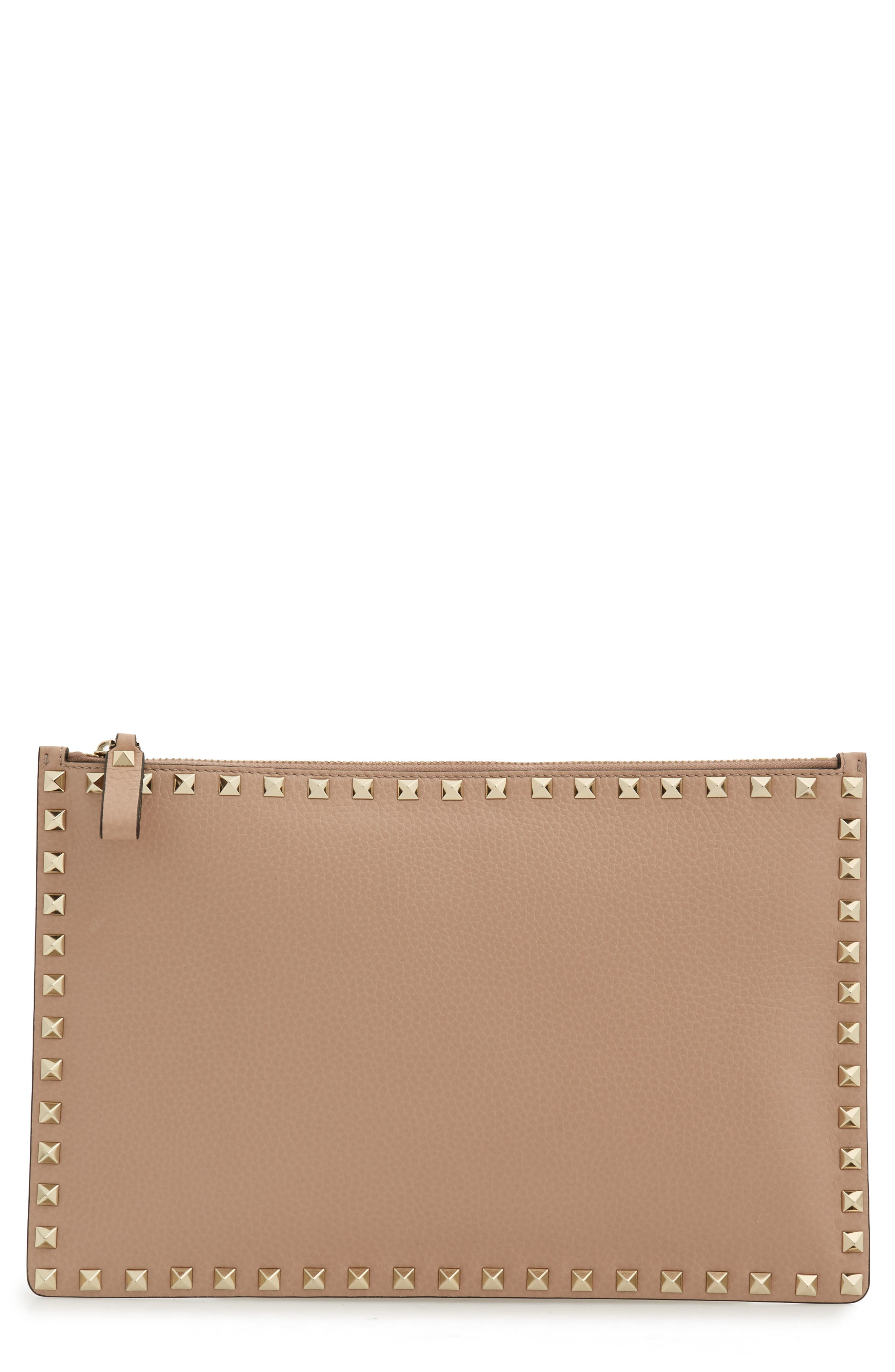 Large Rockstud Flat Leather Pouch,                             Main thumbnail 1, color,                             POUDRE