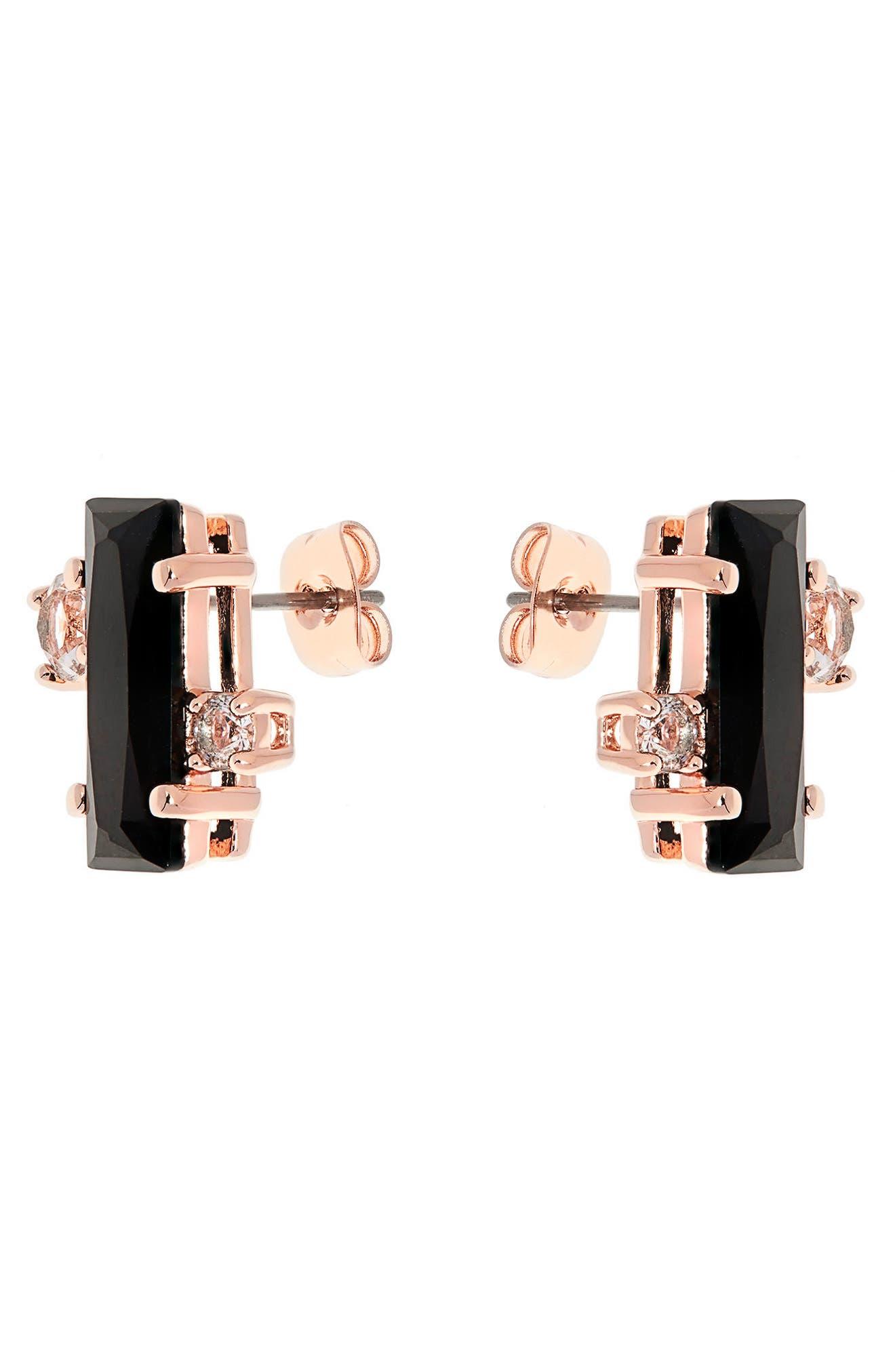 Bria Baguette Cluster Earrings,                             Alternate thumbnail 2, color,                             002