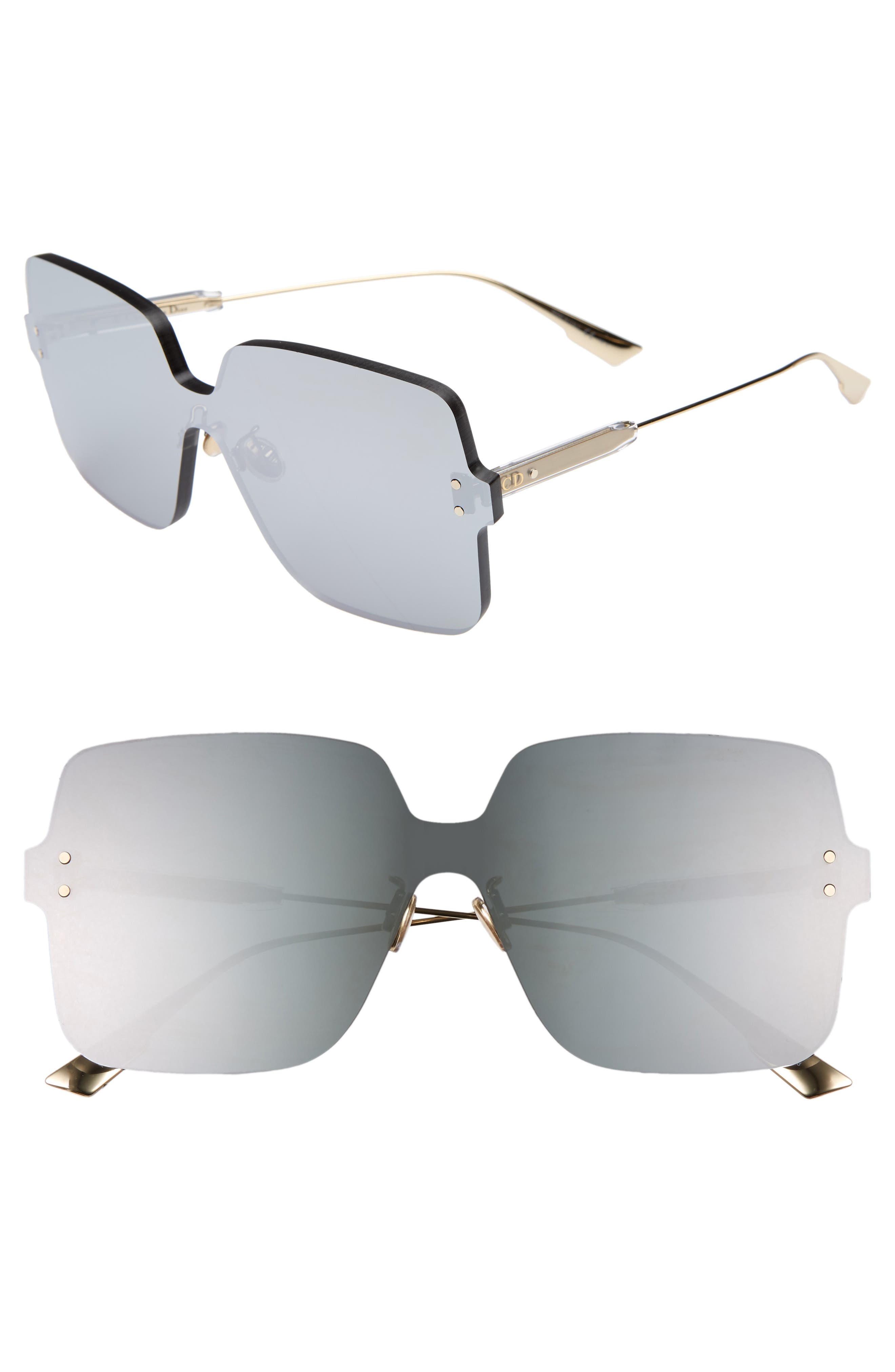Christian Dior Quake1 147Mm Square Rimless Shield Sunglasses - Silver
