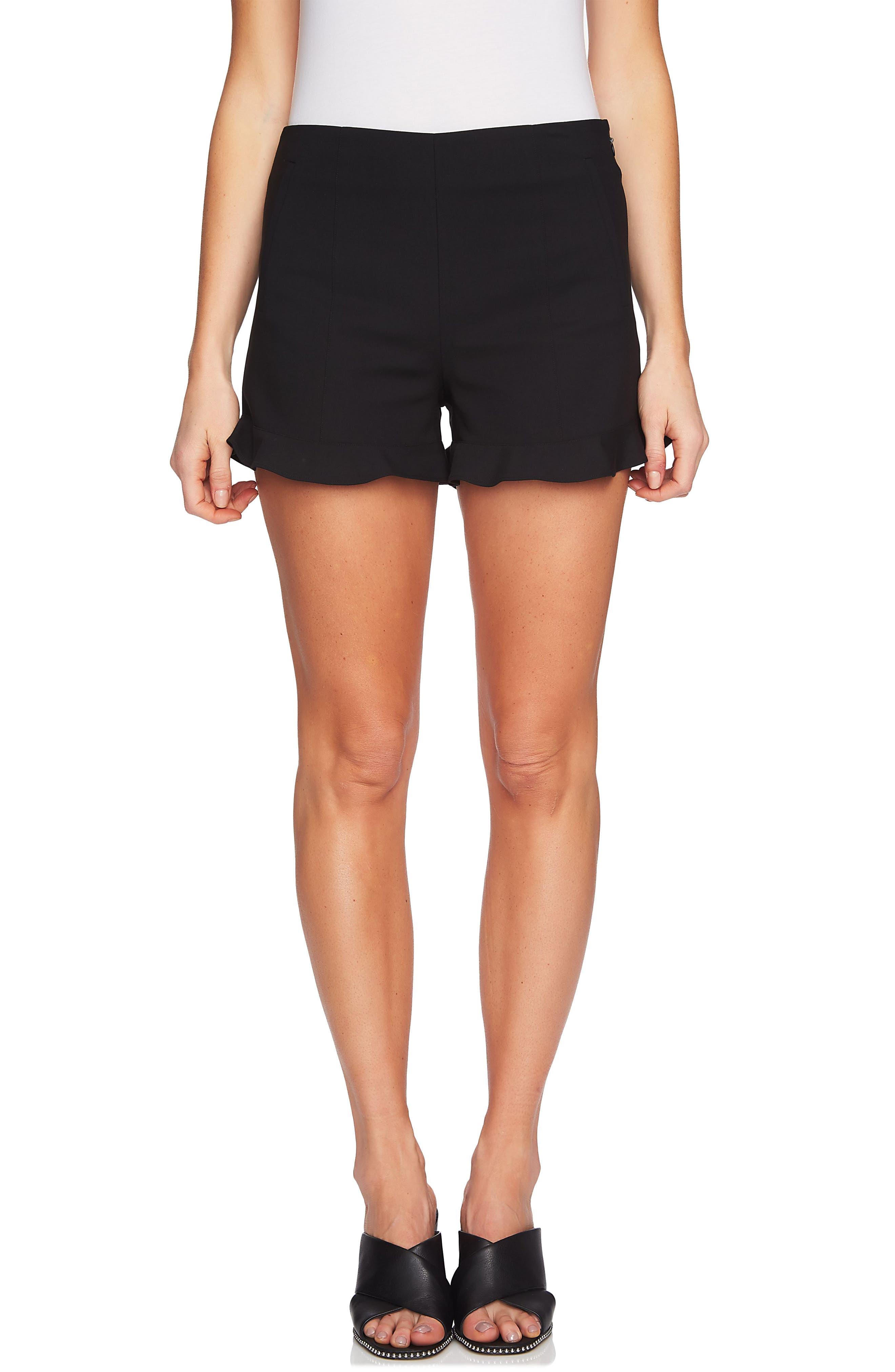 Ruffle Hem Flat Front Shorts,                             Main thumbnail 1, color,                             RICH BLACK