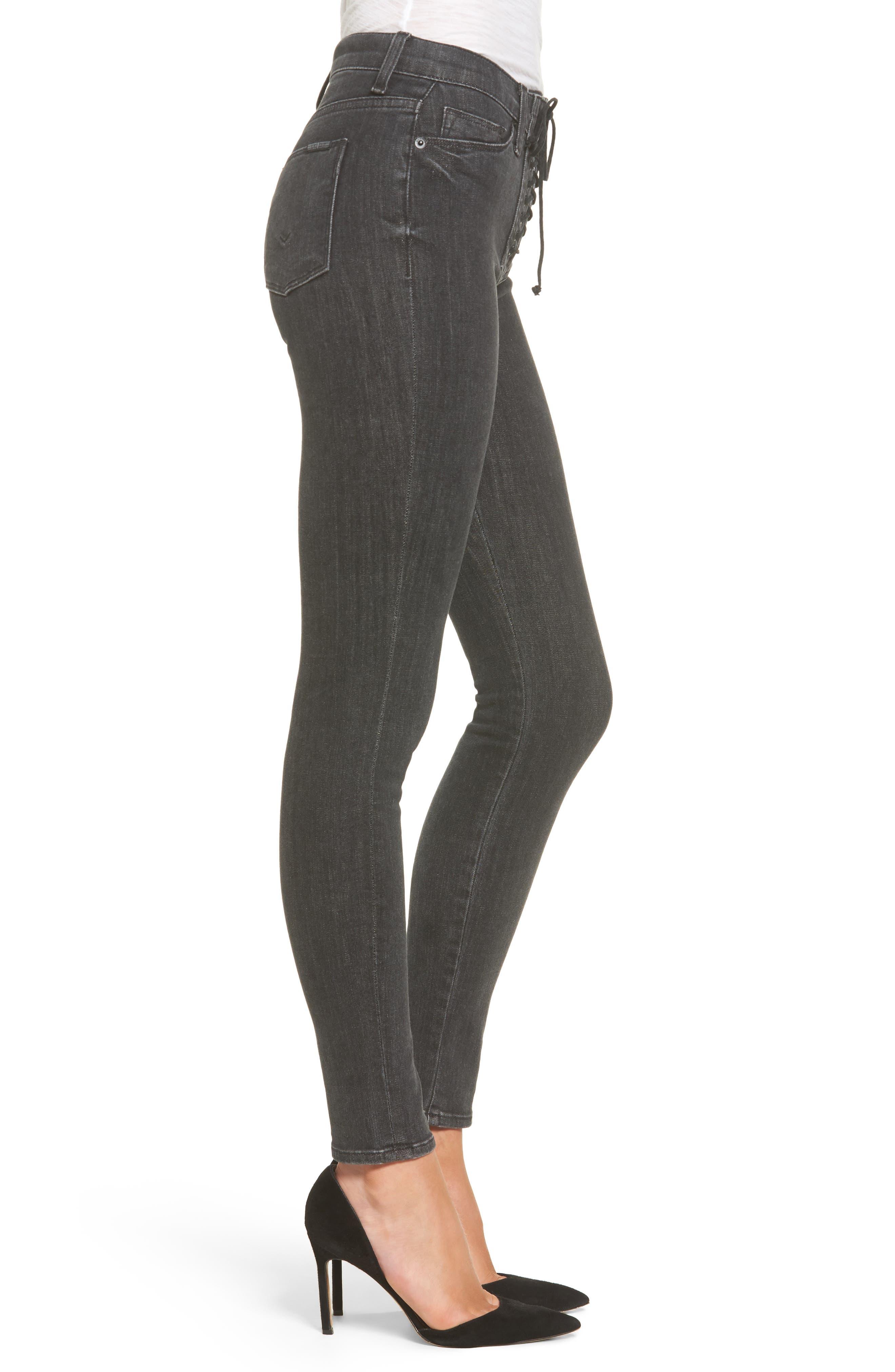 Bullocks High Waist Lace-Up Skinny Jeans,                             Alternate thumbnail 3, color,                             001