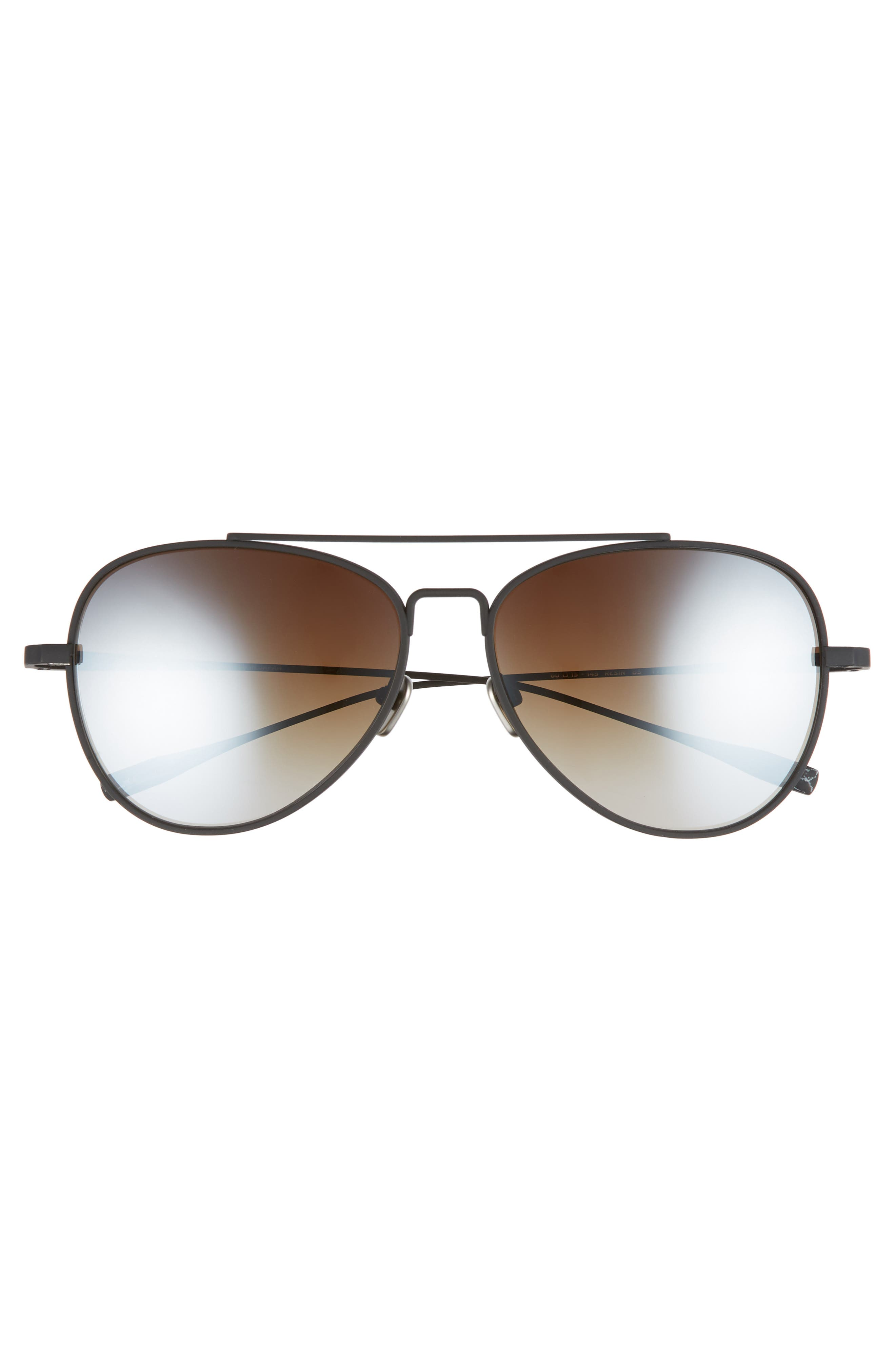 60mm Polarized Aviator Sunglasses,                             Alternate thumbnail 2, color,                             BLACK