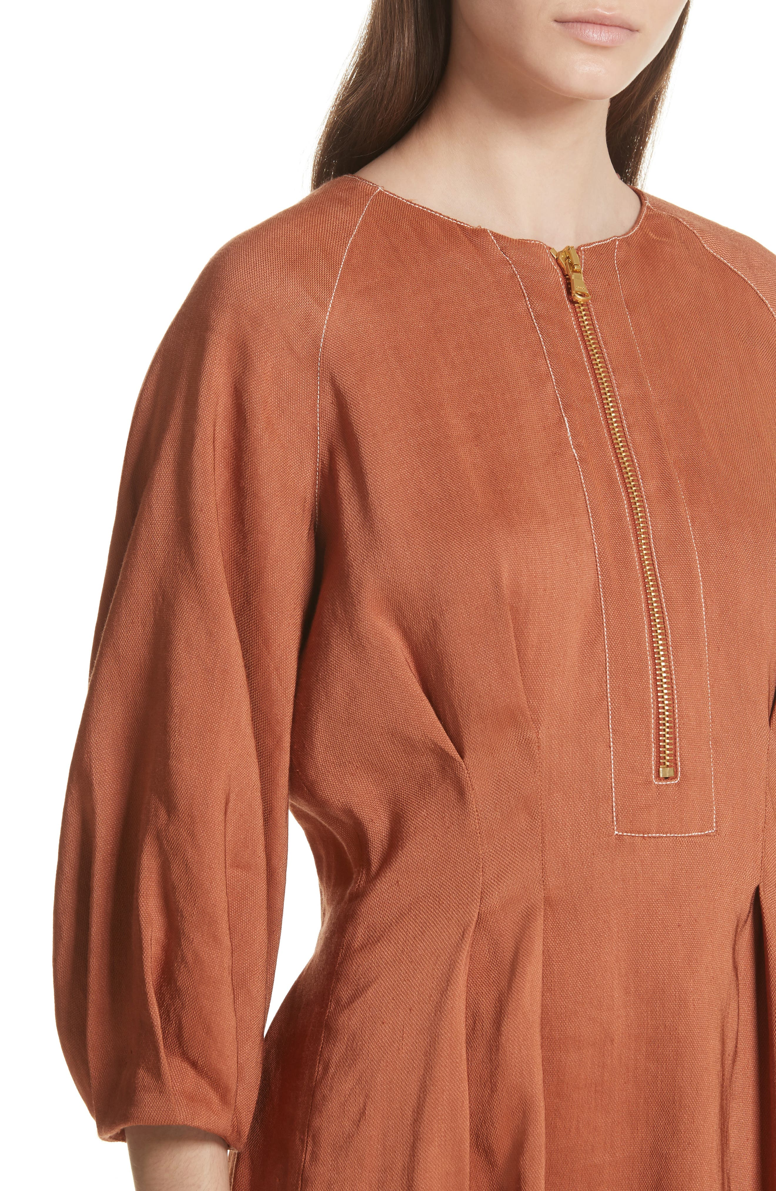 Claudia Linen Blend Midi Dress,                             Alternate thumbnail 4, color,                             821
