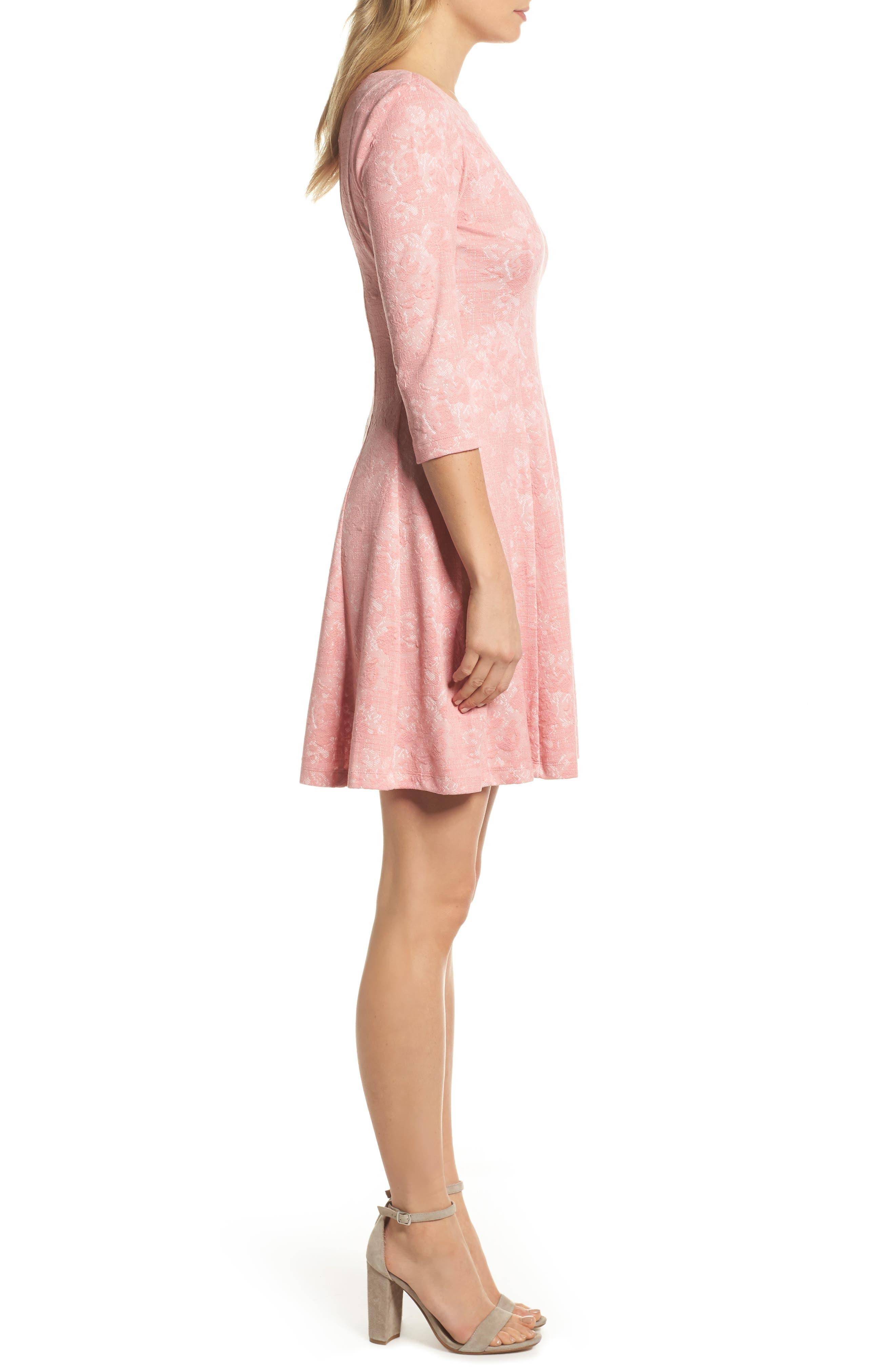Jacquard Knit Fit & Flare Dress,                             Alternate thumbnail 3, color,                             651