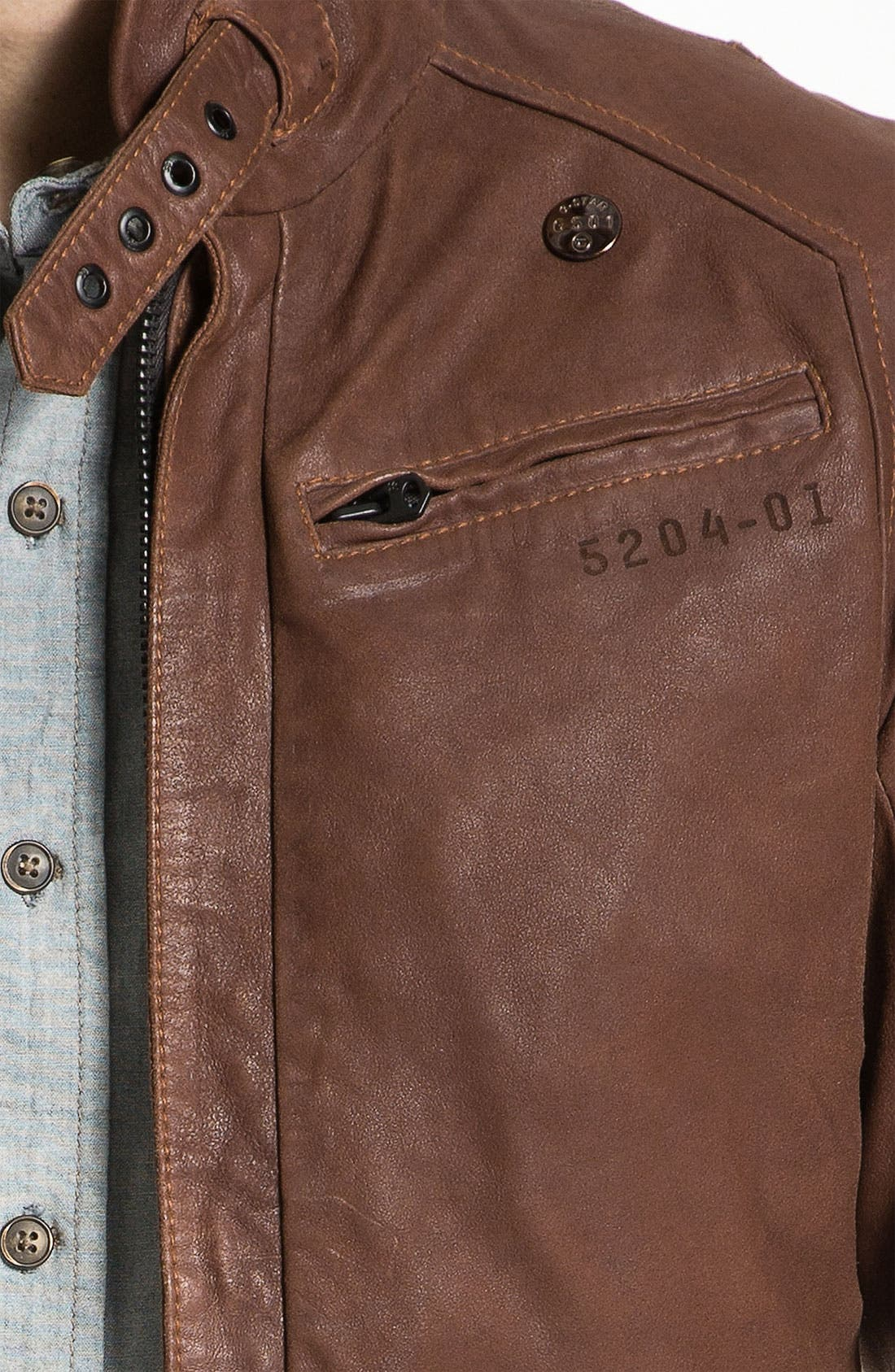 Leather Jacket,                             Alternate thumbnail 3, color,                             210