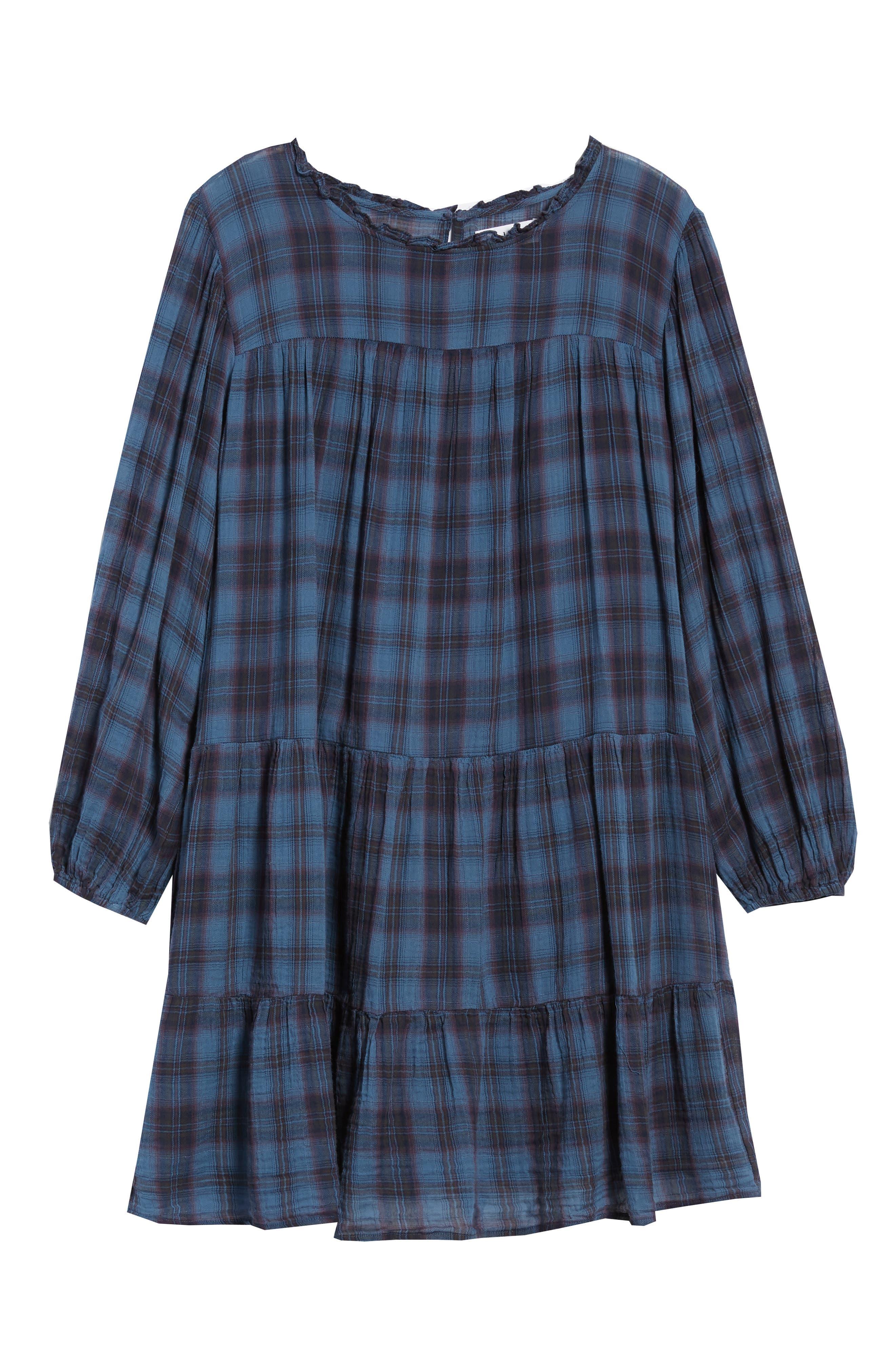 Soft Tiered Plaid Cotton Shift Dress,                             Alternate thumbnail 7, color,                             437