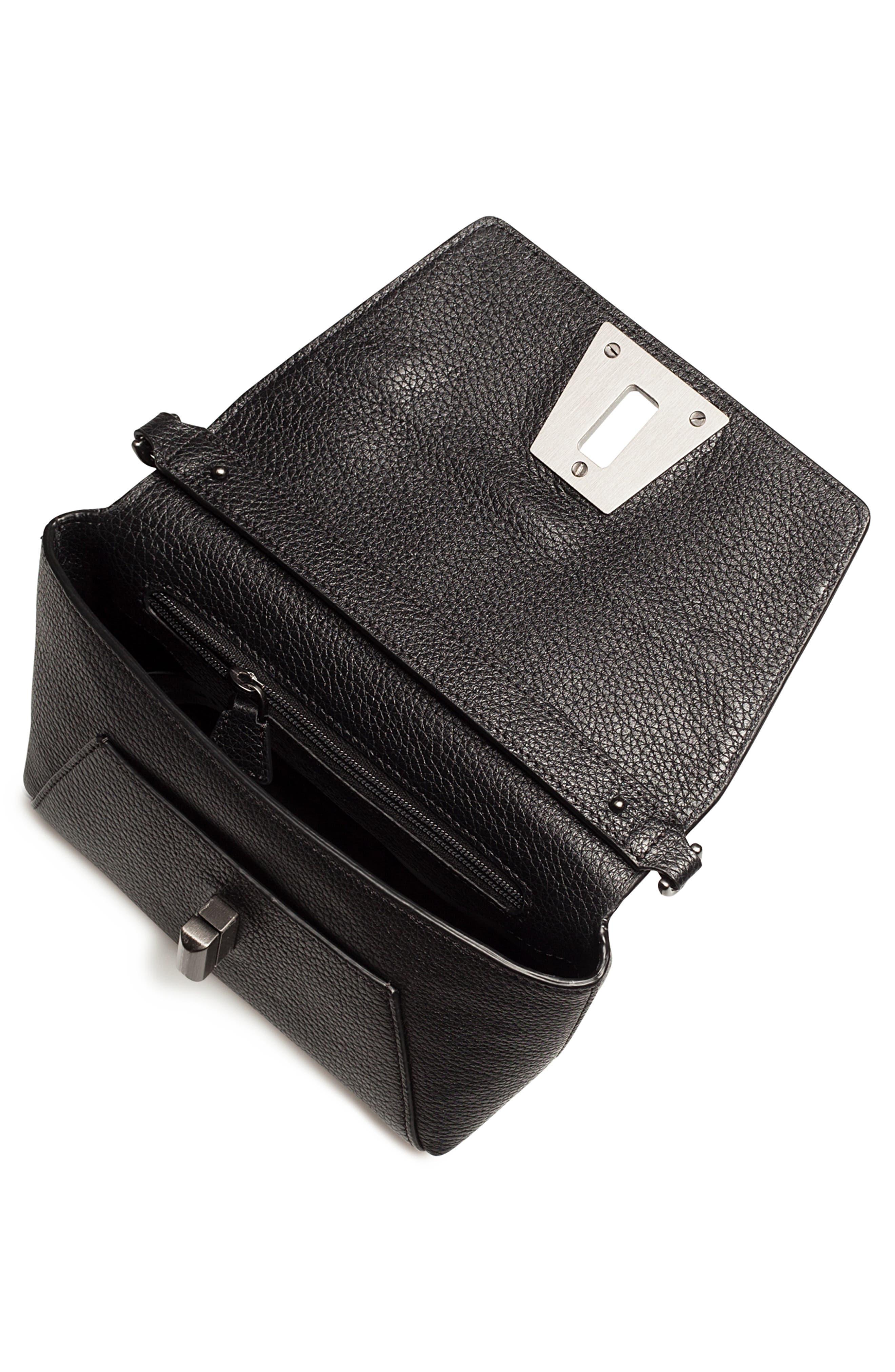 Little Anouk Leather Crossbody Bag,                             Alternate thumbnail 4, color,                             009 BLACK