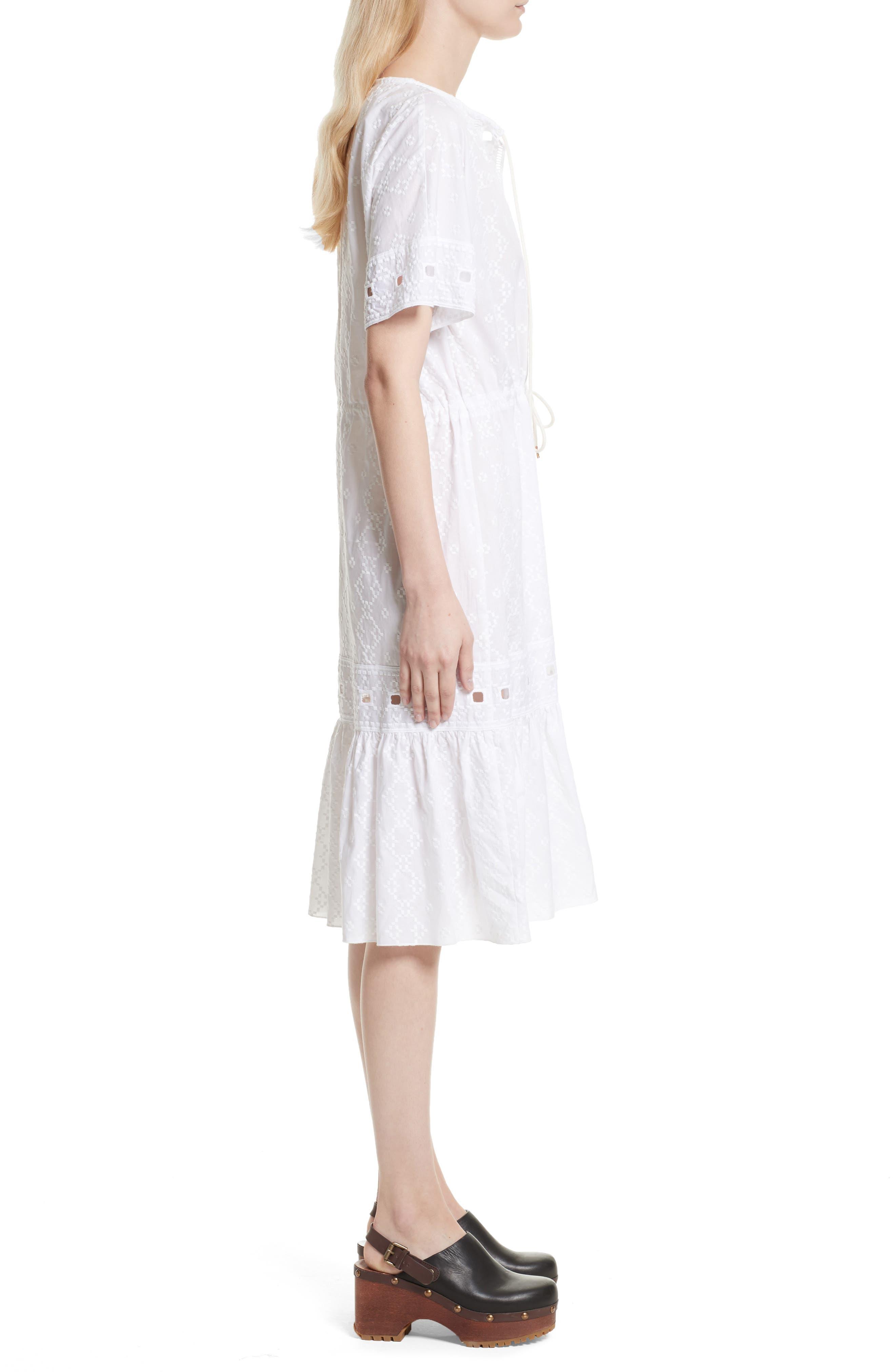 Cotton Eyelet Dress,                             Alternate thumbnail 3, color,                             101