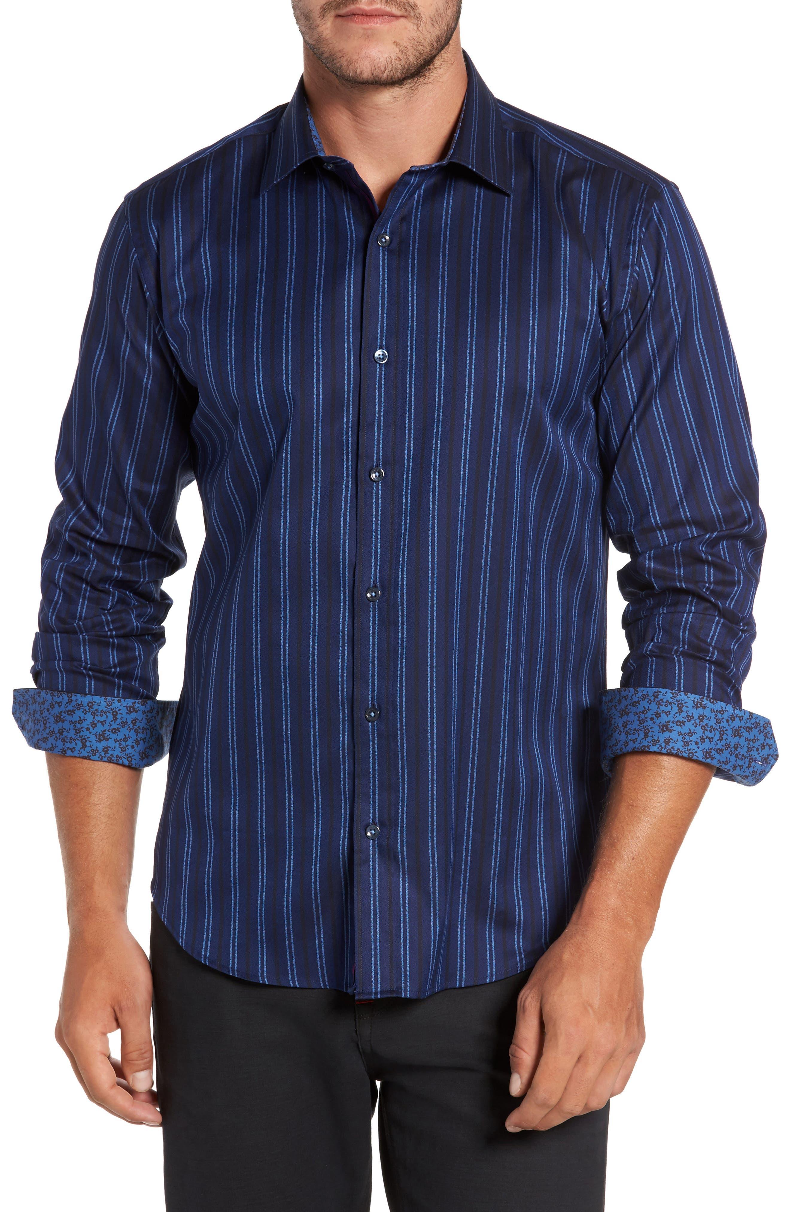 Shaped Fit Stripe Sport Shirt,                         Main,                         color, 410
