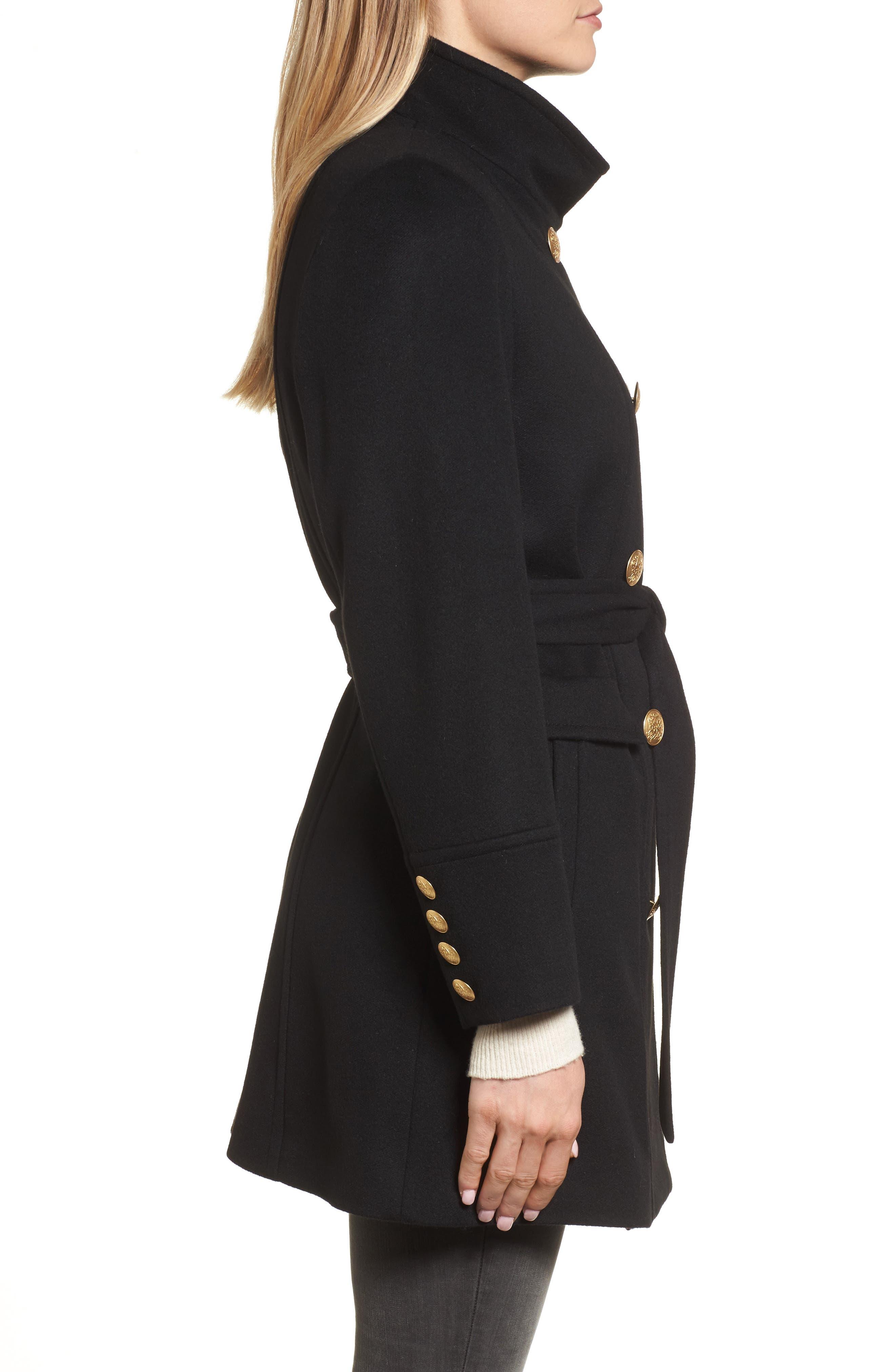 Wool & Cashmere Blend Military Coat,                             Alternate thumbnail 3, color,                             001
